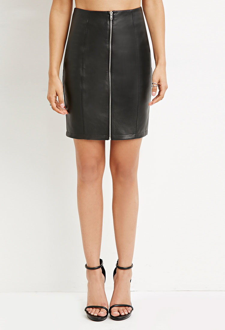 Forever 21 Zip-front Faux Leather Skirt in Black | Lyst