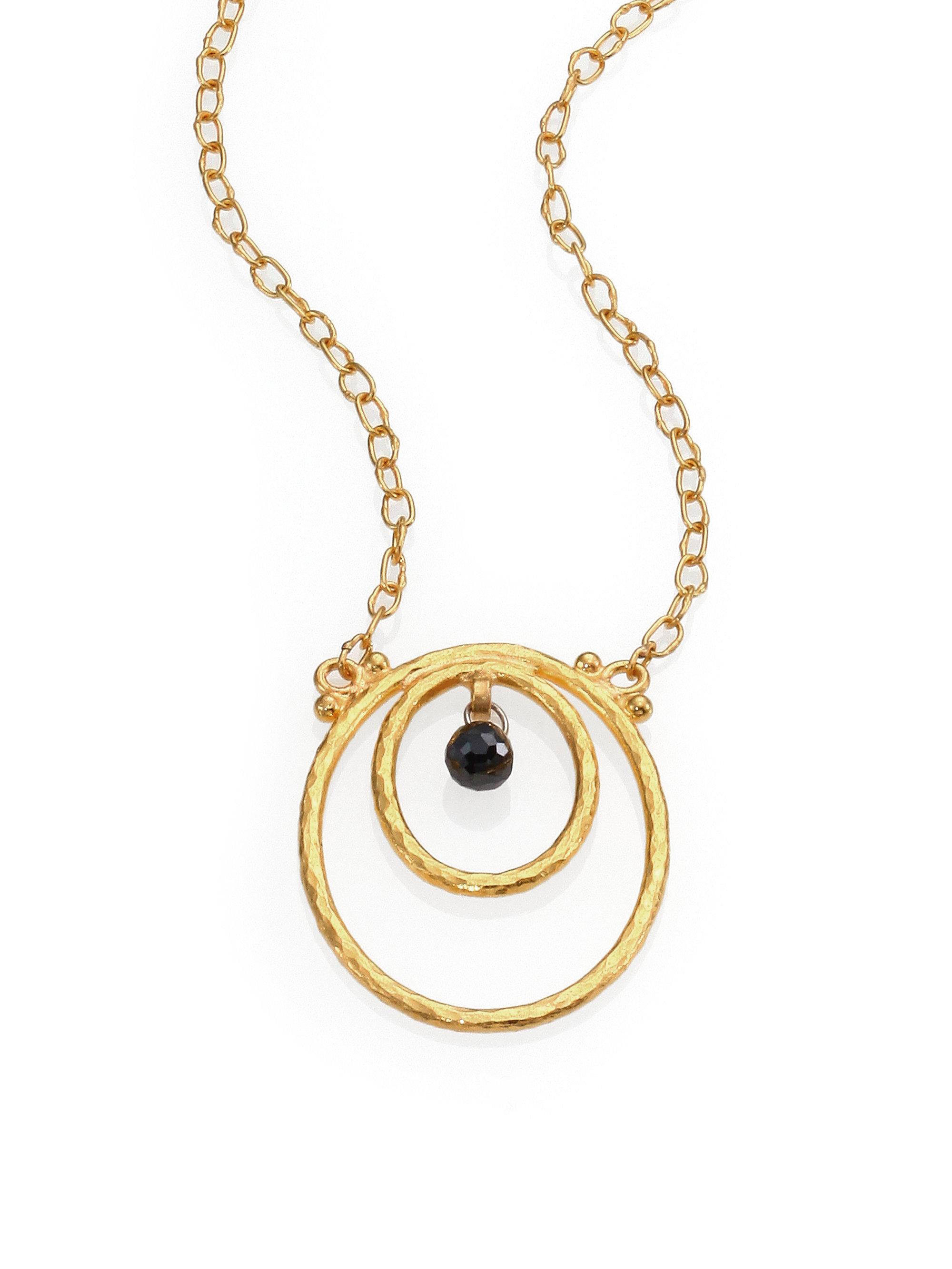 gurhan hoopla black 24k yellow gold pendant