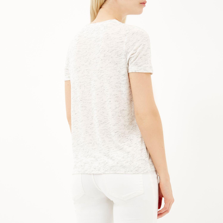 New Sale Online Womens Cream zip back loose fit T-shirt River Island Sale Largest Supplier 060GrU