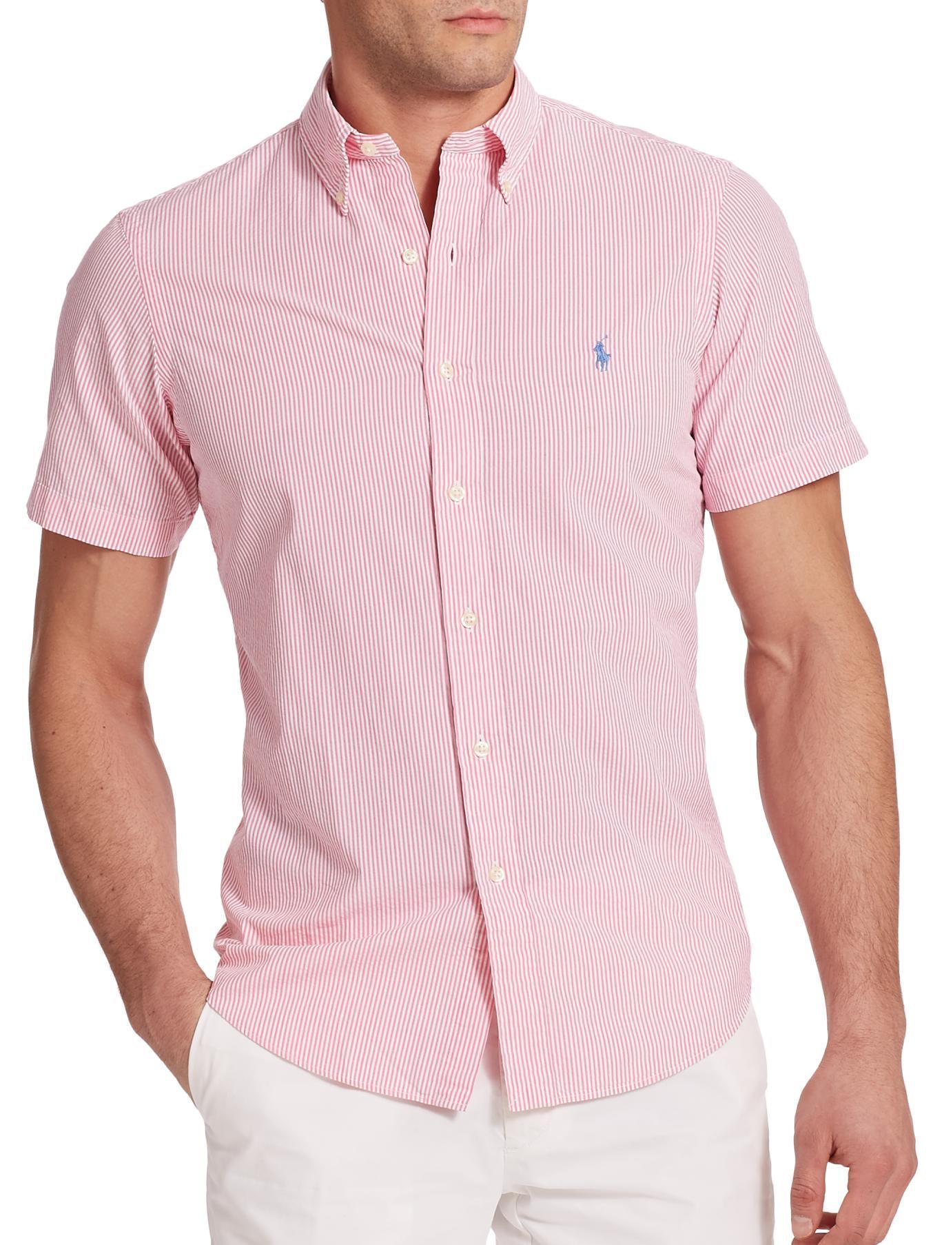 Polo ralph lauren Striped Seersucker Sportshirt in Pink for Men | Lyst
