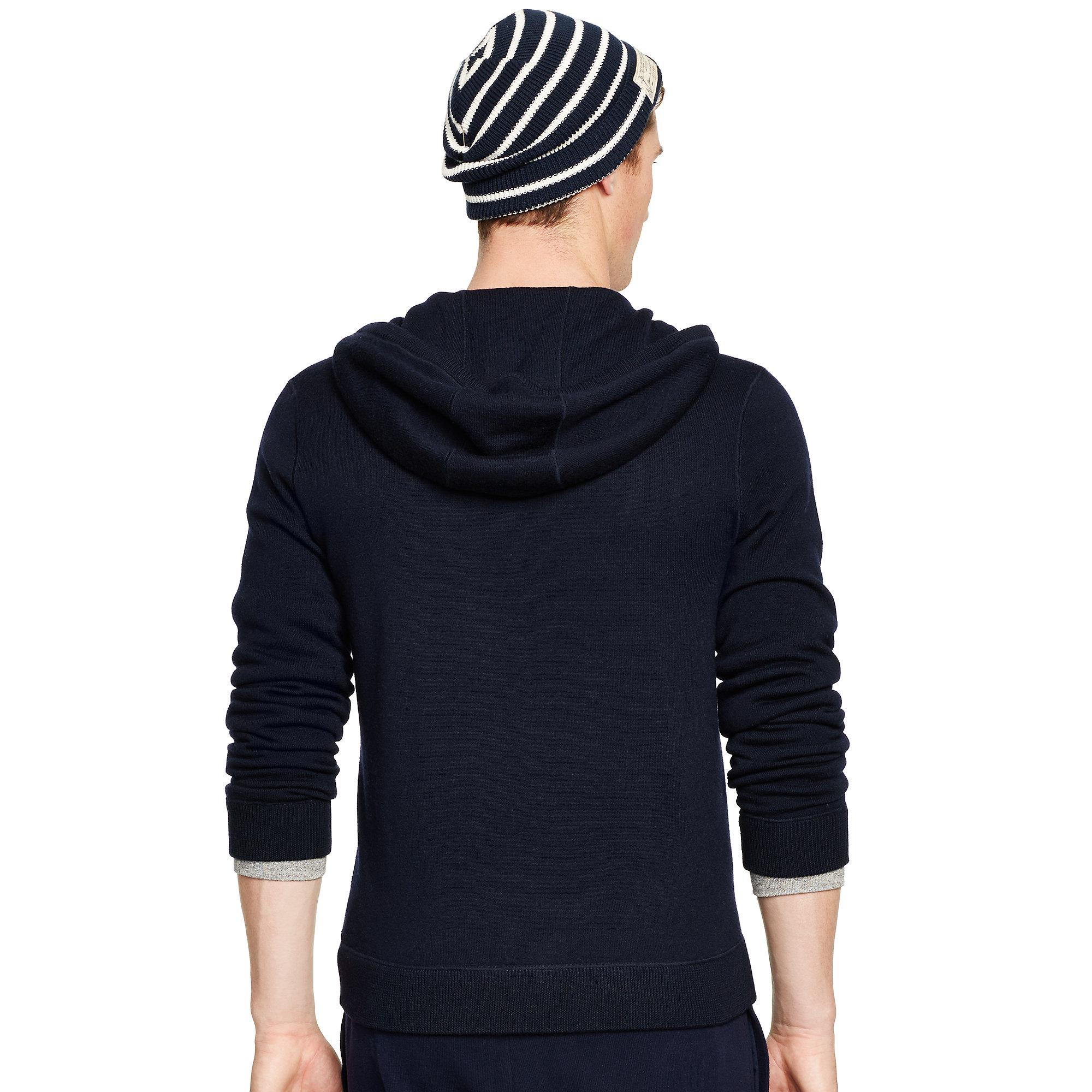 polo ralph lauren merino wool full zip hoodie in blue for men lyst. Black Bedroom Furniture Sets. Home Design Ideas
