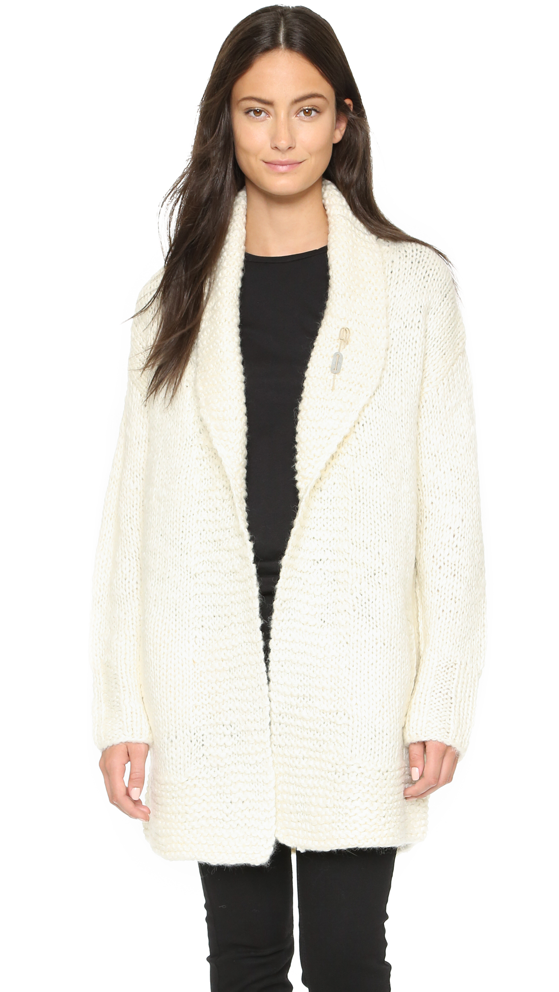 Scotch & soda Home Alone Chunky Cardigan in Natural | Lyst
