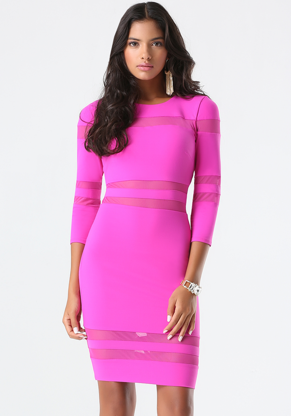 Bebe Mesh Inset Power Knit Dress In Pink Lyst