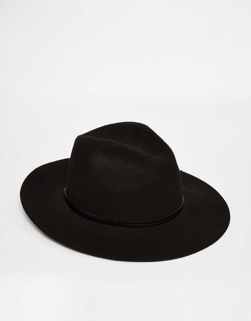 Lyst - Catarzi Wide Brim Unstructured Fedora Hat in Black for Men 44540bc6392
