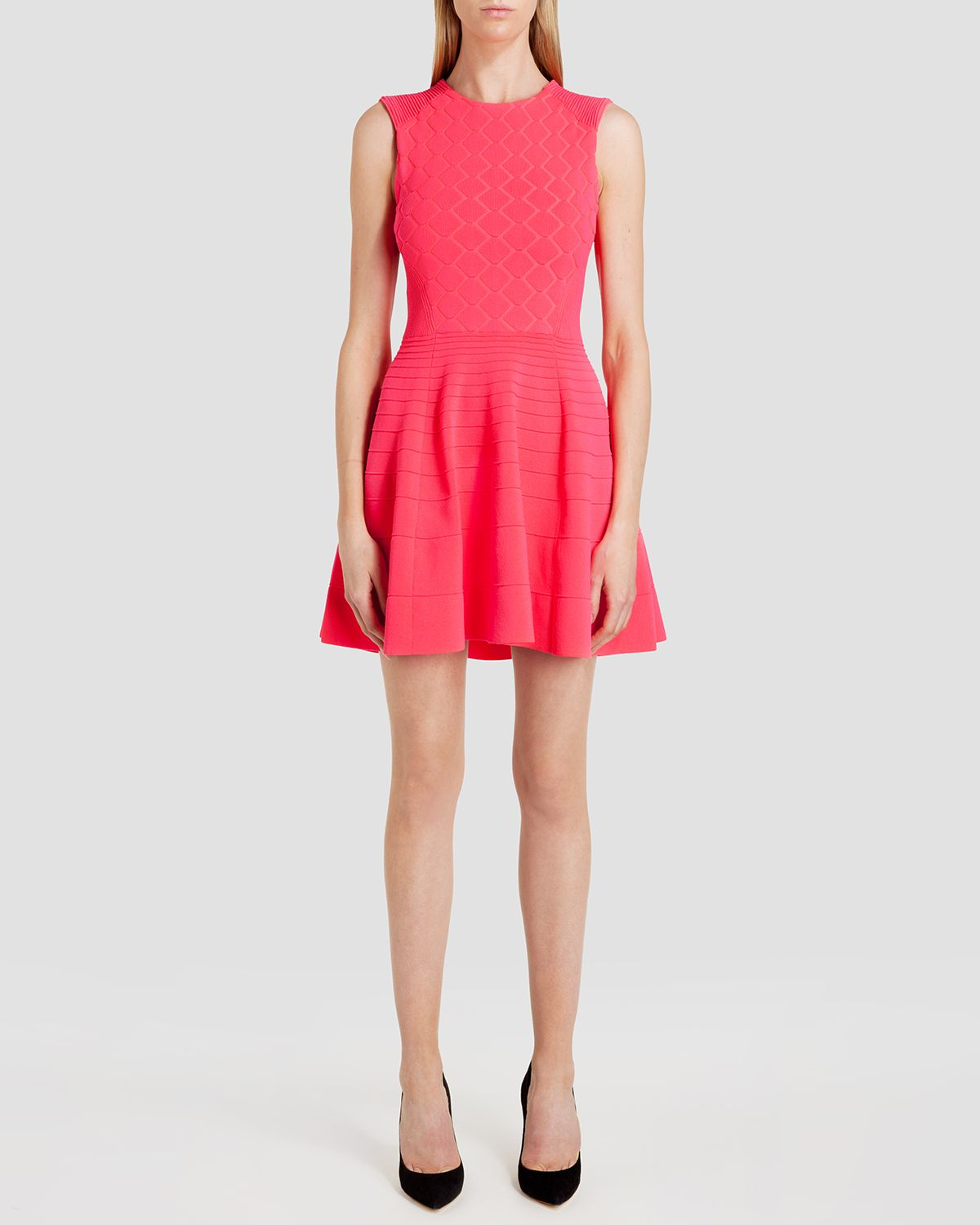 Lyst Ted Baker Dress Frinca Textured Skater In Orange