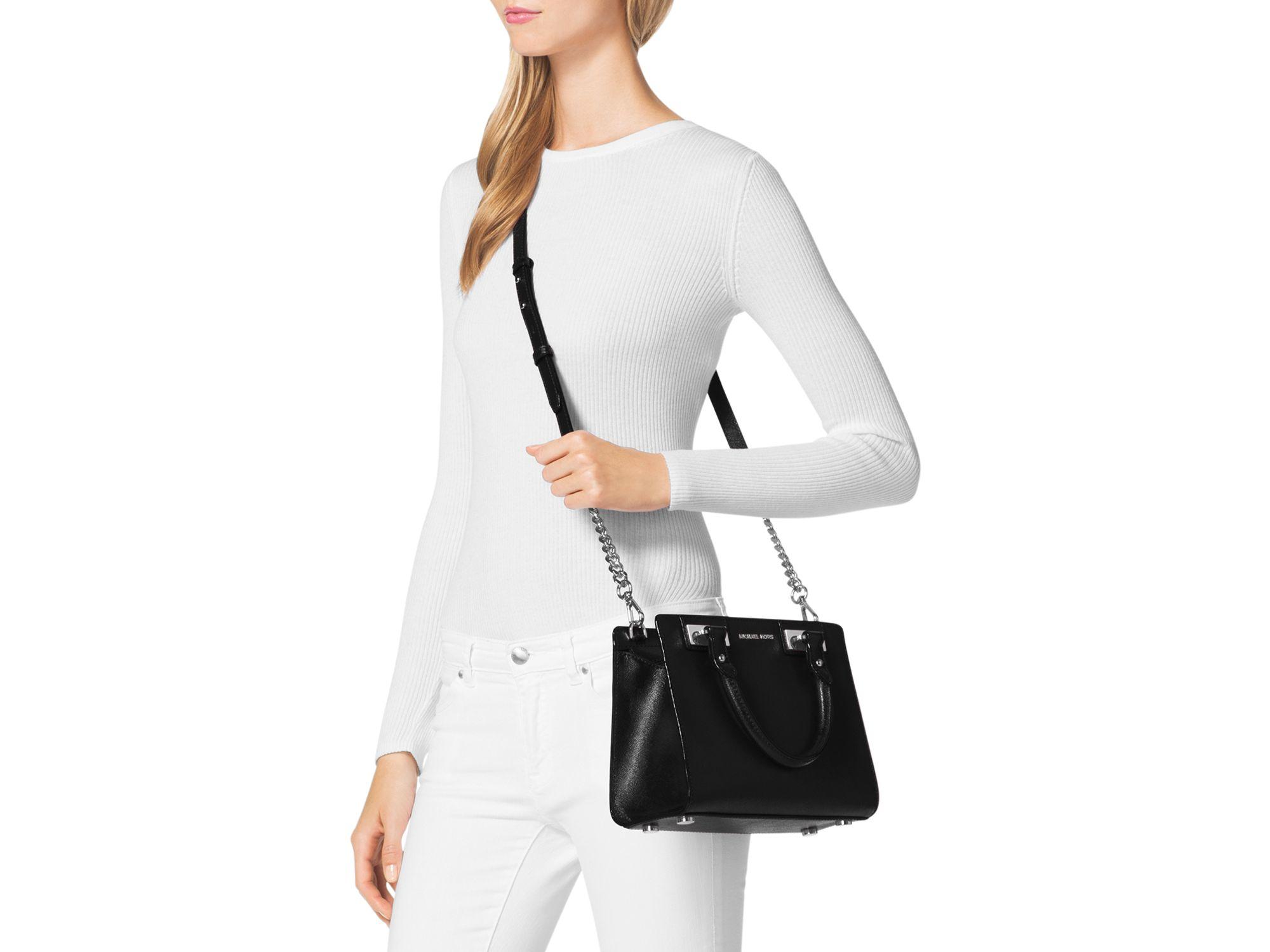 d813775bd6291 ... spain michael kors quinn small patent saffiano leather satchel in black  lyst dce90 099c6