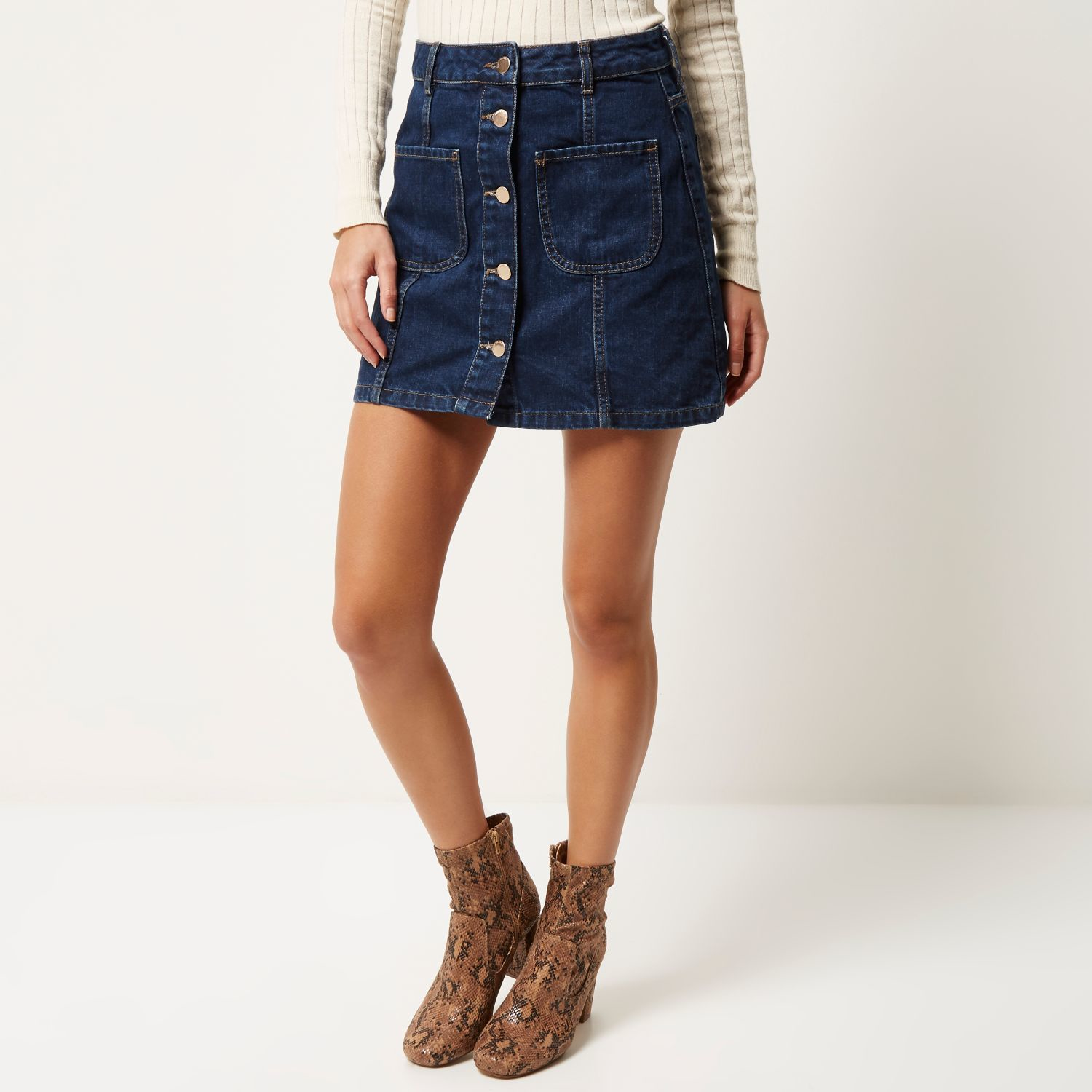 Dark Denim A Line Skirt - Dress Ala