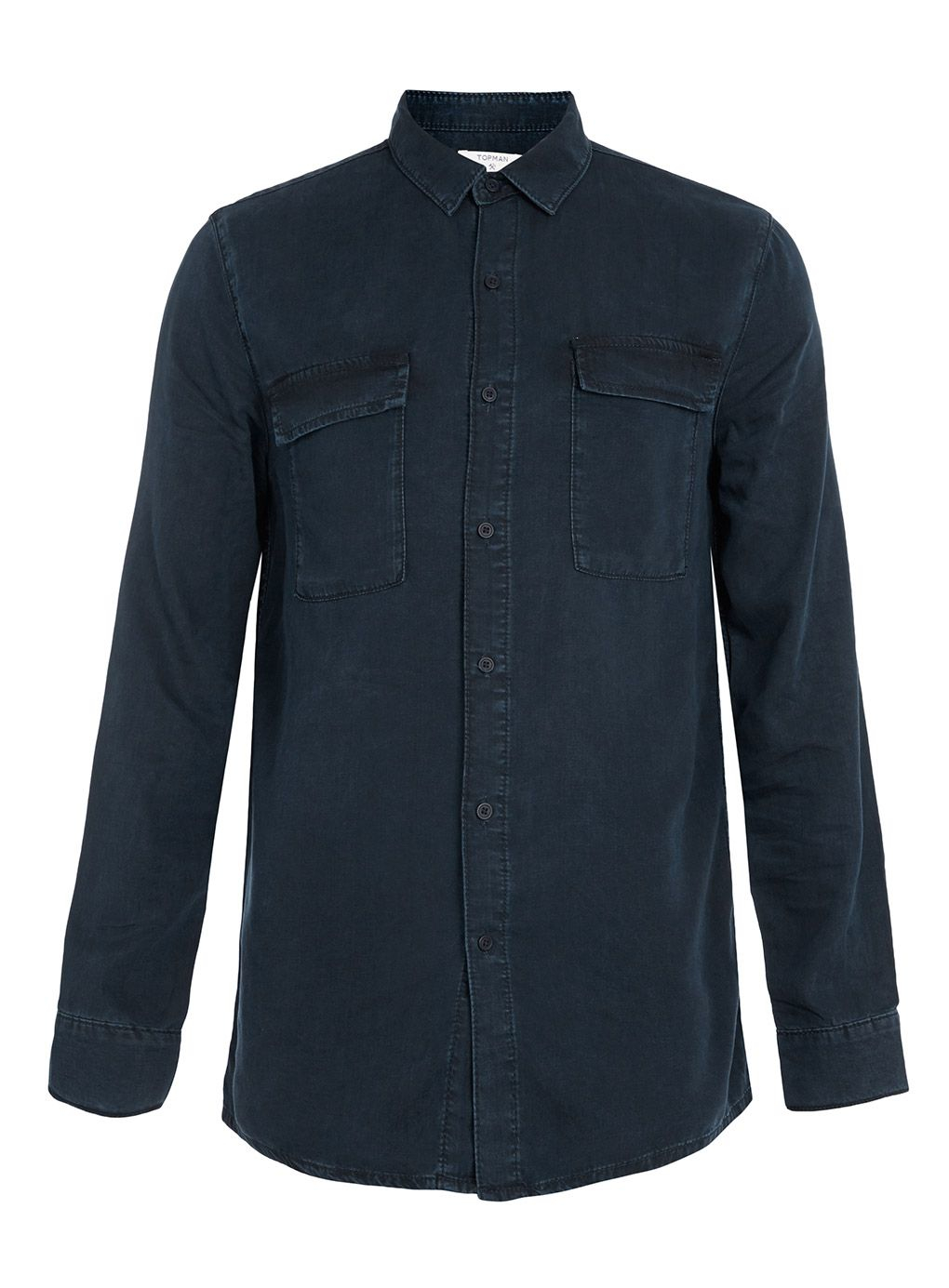 Topman Long Sleeve Denim Casual Shirt In Blue For Men