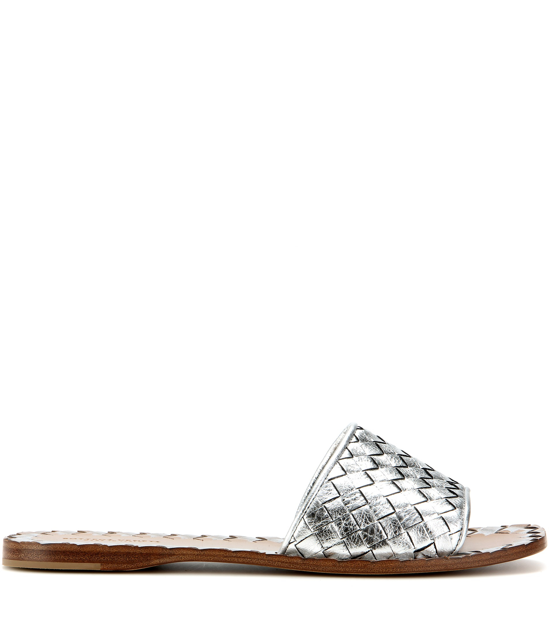 Metallic Intrecciato Leather Slides - Silver Bottega Veneta opT0DK96j
