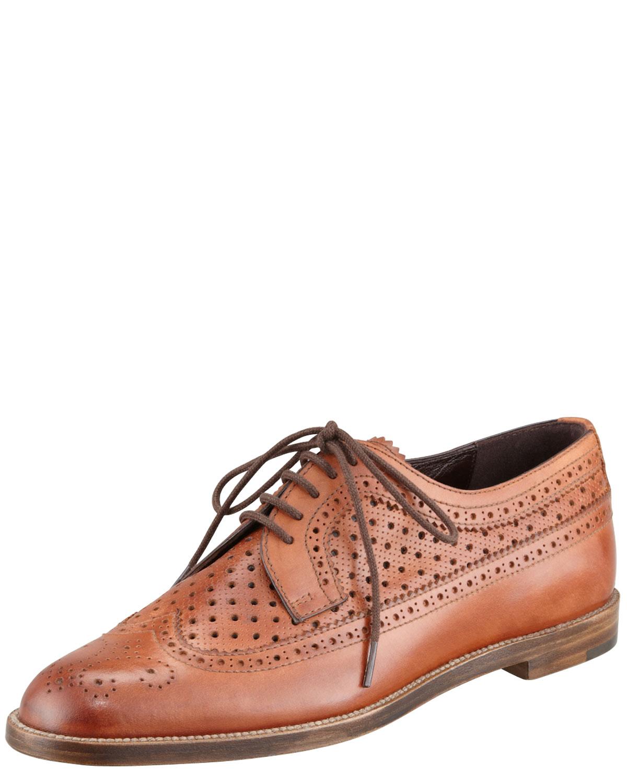 Manolo Blahnik Ivory And Black Cap Toe Guingla Diamond: Manolo Blahnik Lorenza Leather Oxford Brown In Brown