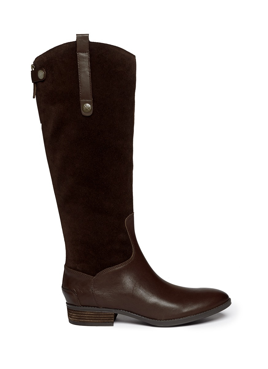 sam edelman pembrooke suede leather boots in brown