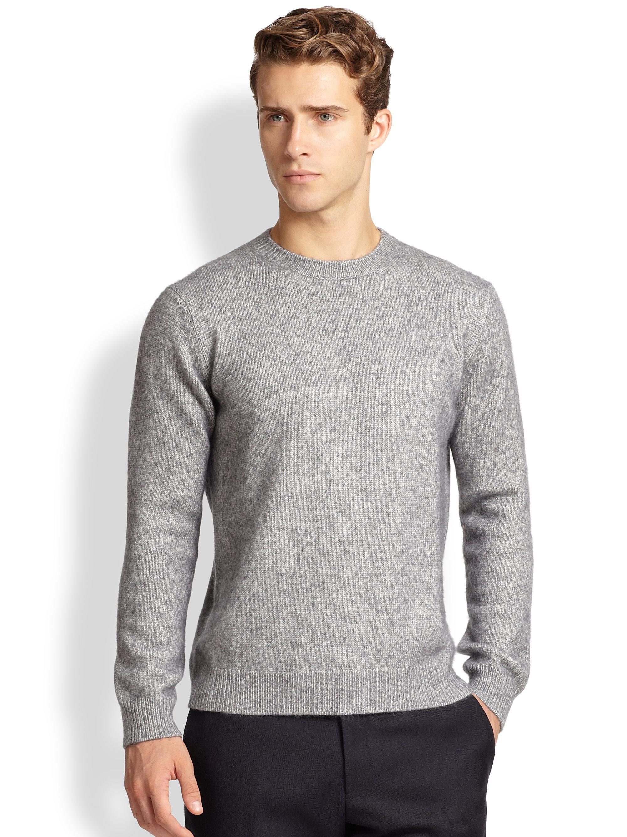 Wool Sweater Grey: Ferragamo Crewneck Wool Sweater In Gray For Men