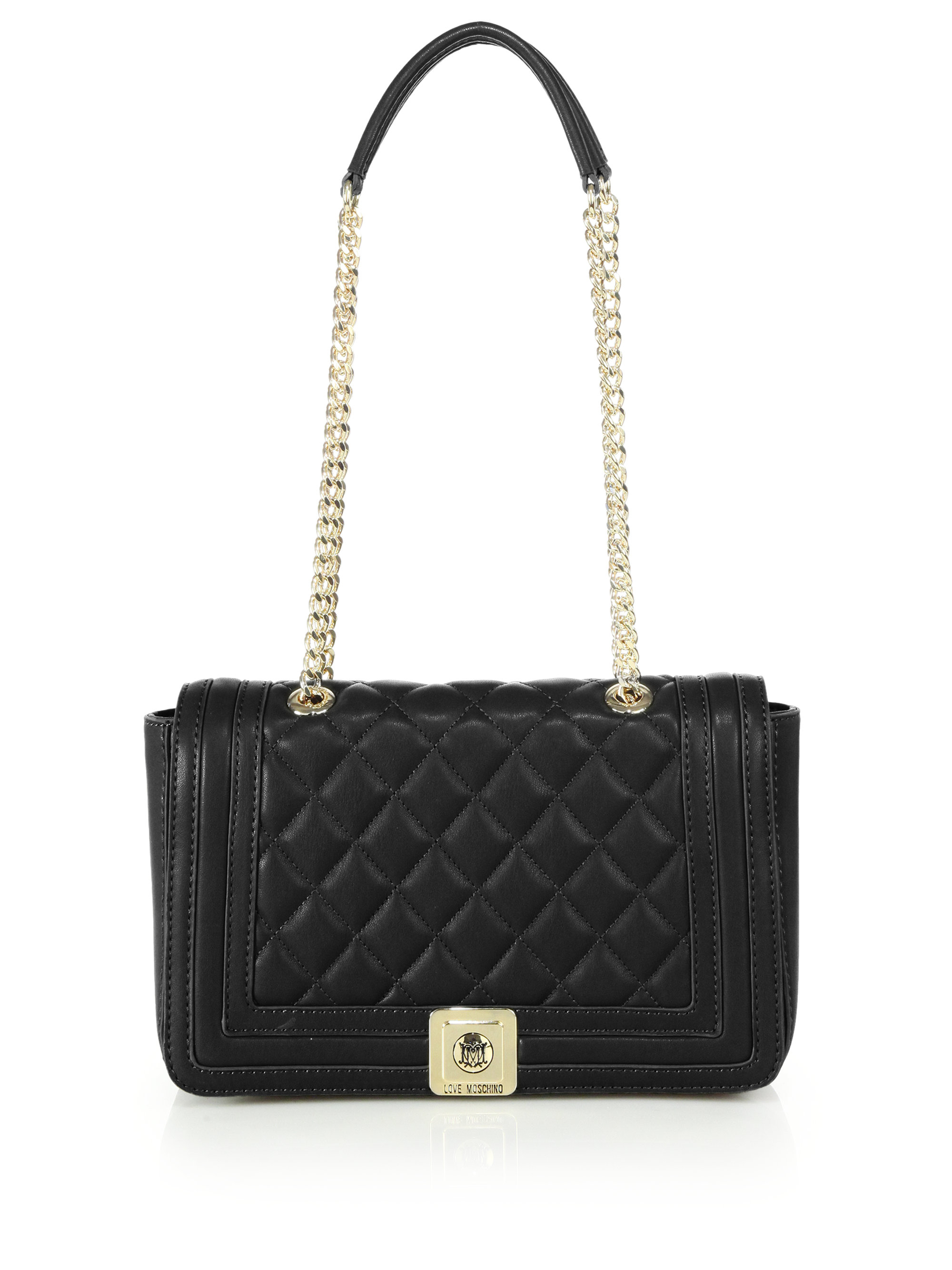 Love Moschino Quilted Faux Leather Shoulder Bag In Black