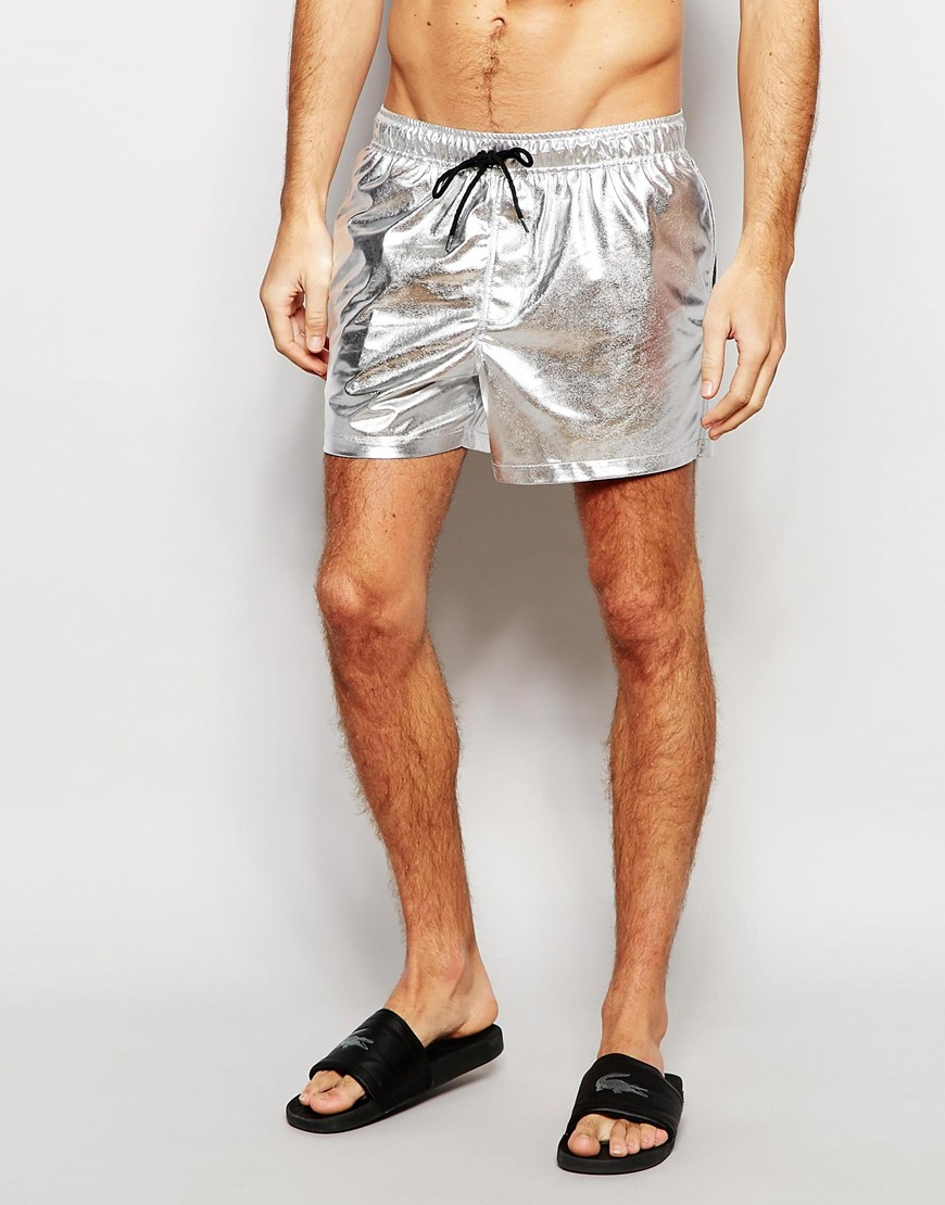 427833ca690d9 ASOS Short Length Swim Shorts In Metallic Silver in Metallic for Men ...
