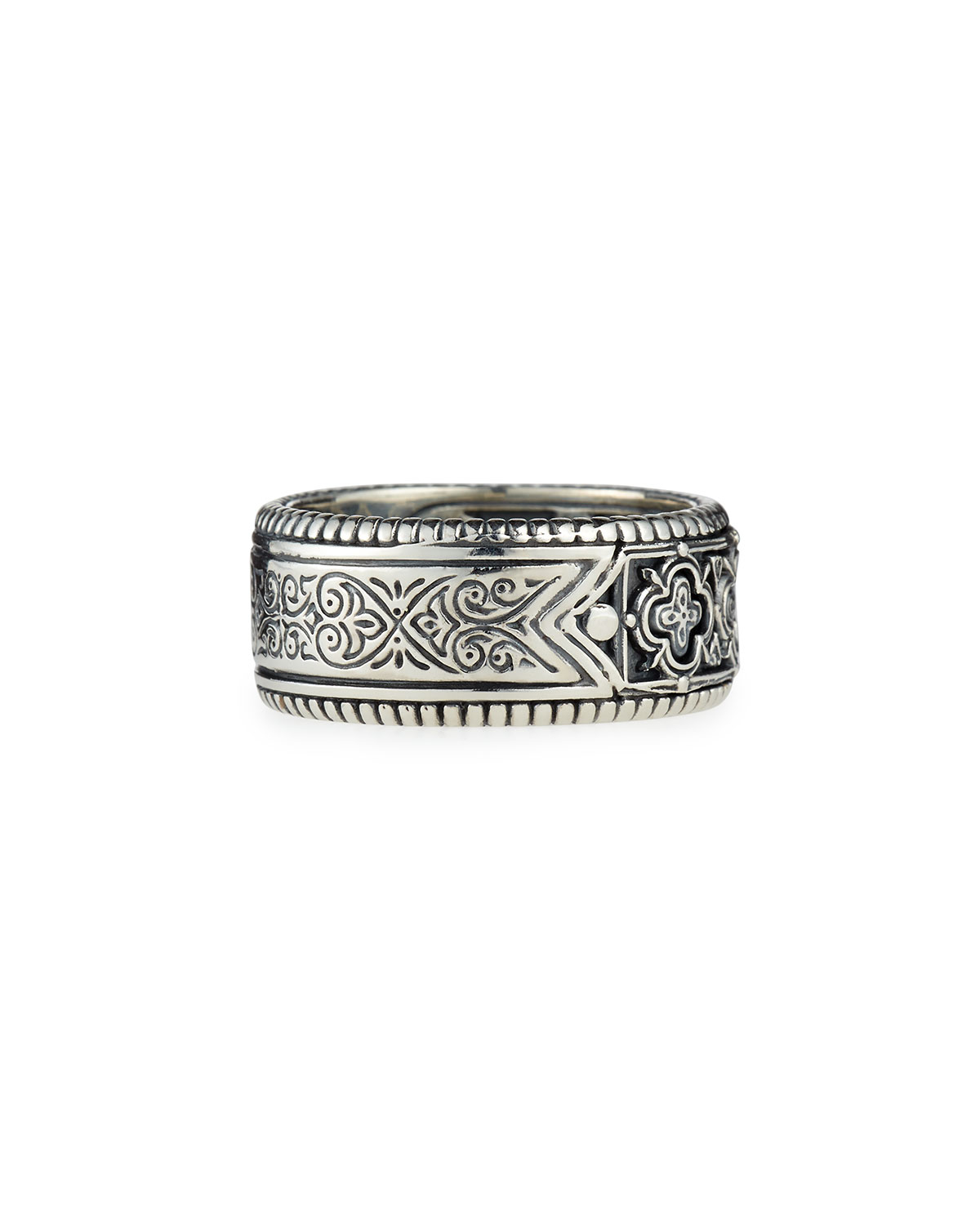 konstantino classic engraved silver band ring in metallic