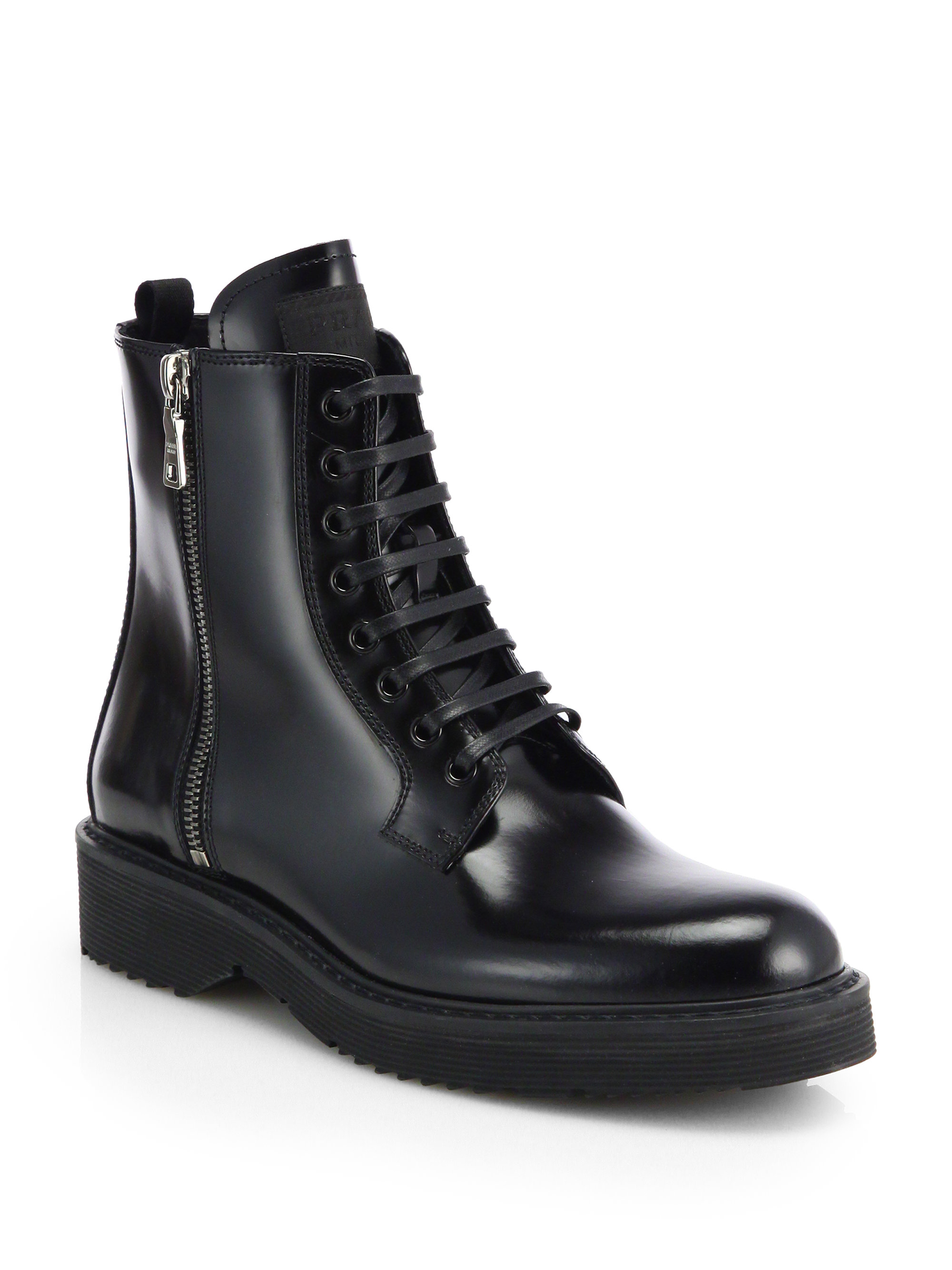 Prada Patent Leather Laceup Combat Boots in Black | Lyst