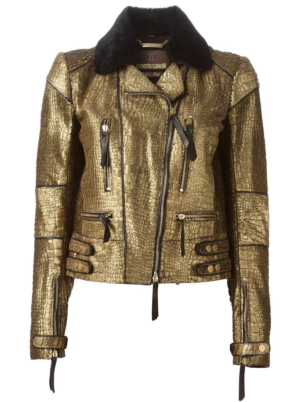 Roberto Cavalli Metallic Biker Jacket In Gold Bronze
