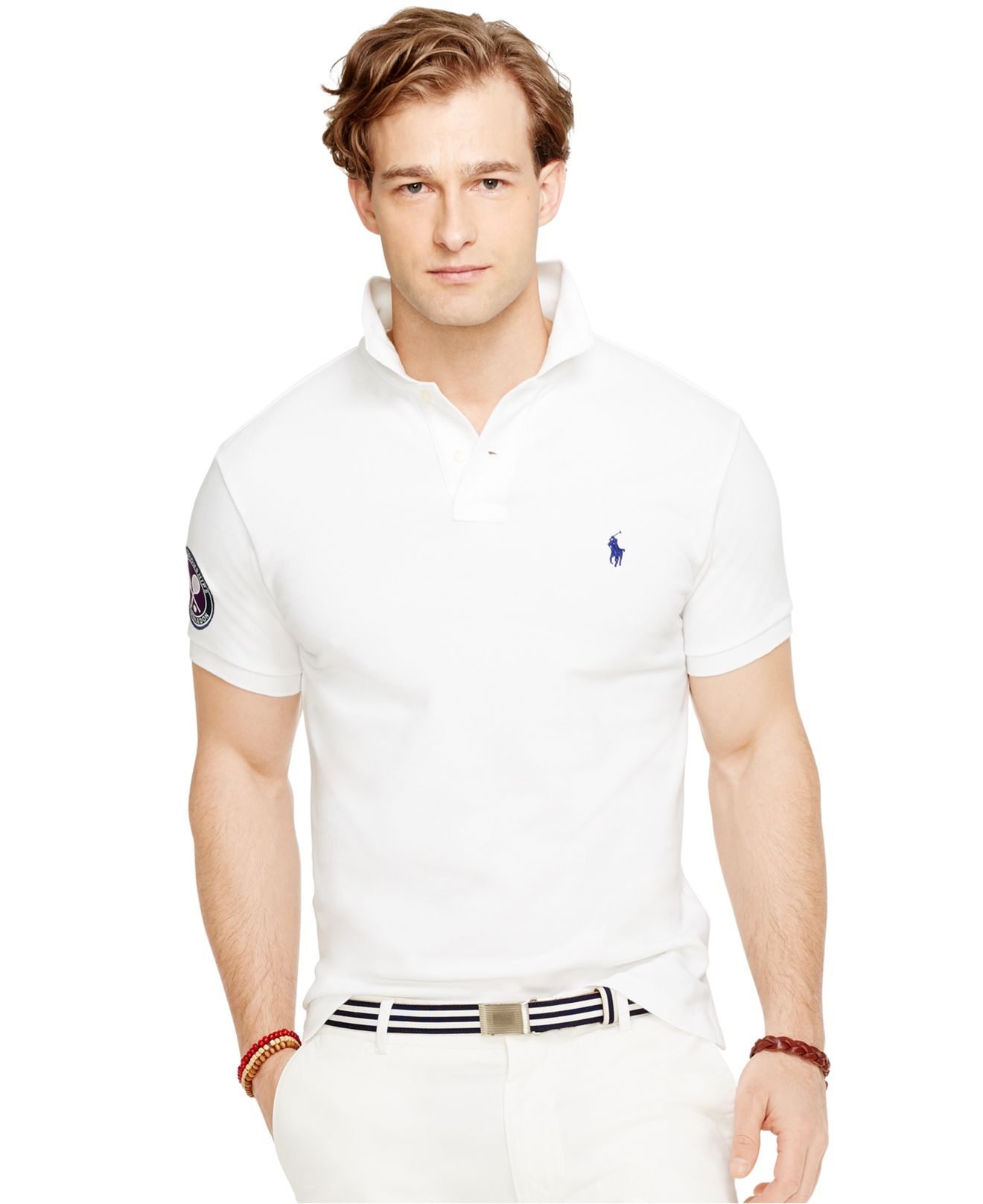 Lyst Polo Ralph Lauren Wimbledon Custom Fit Polo Shirt In White