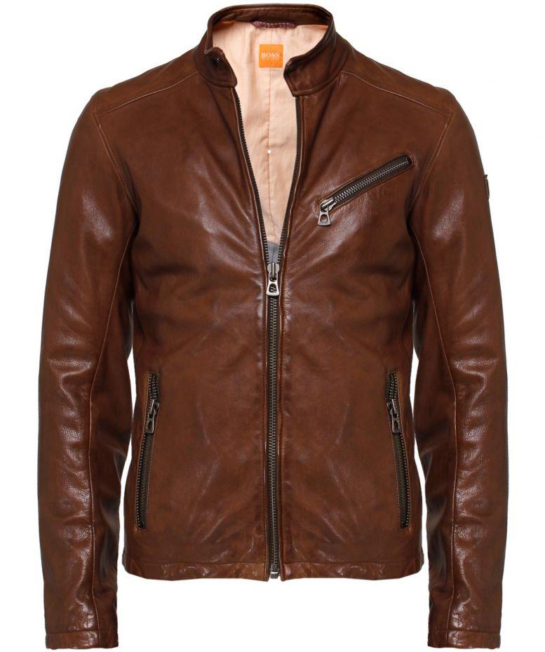 boss orange leather julino jacket in brown for men lyst. Black Bedroom Furniture Sets. Home Design Ideas