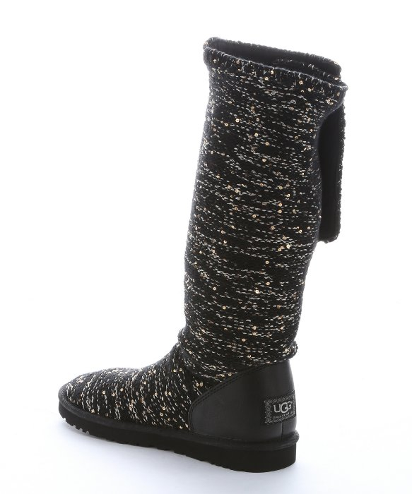 ugg black rib knit wool and sequin classic cardy