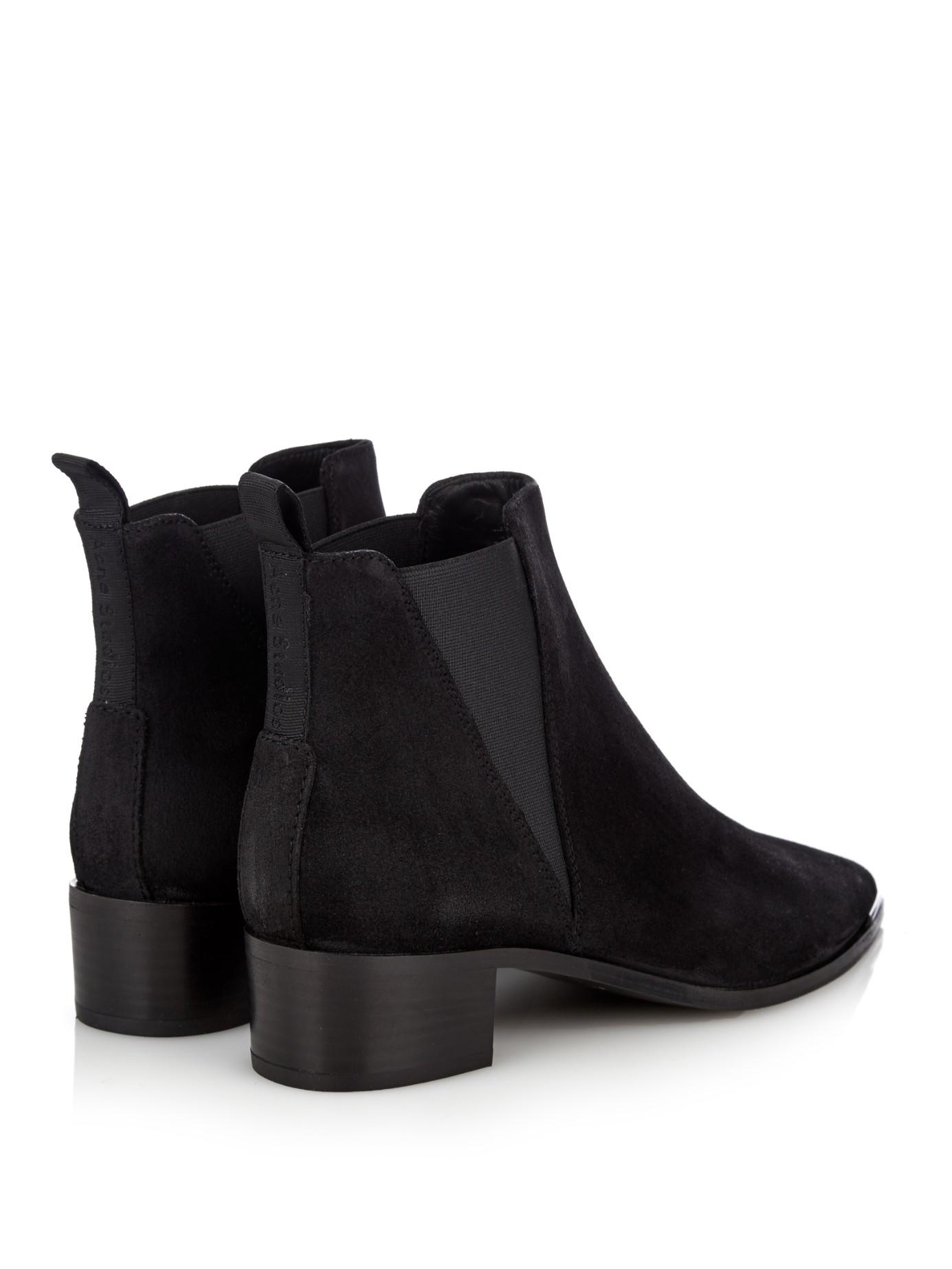 acne studios jensen suede chelsea boots in black lyst. Black Bedroom Furniture Sets. Home Design Ideas