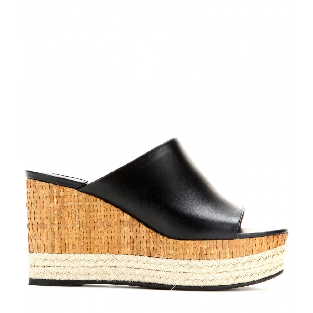 Lyst Ferragamo Maimei Leather Wedge Mules In Black