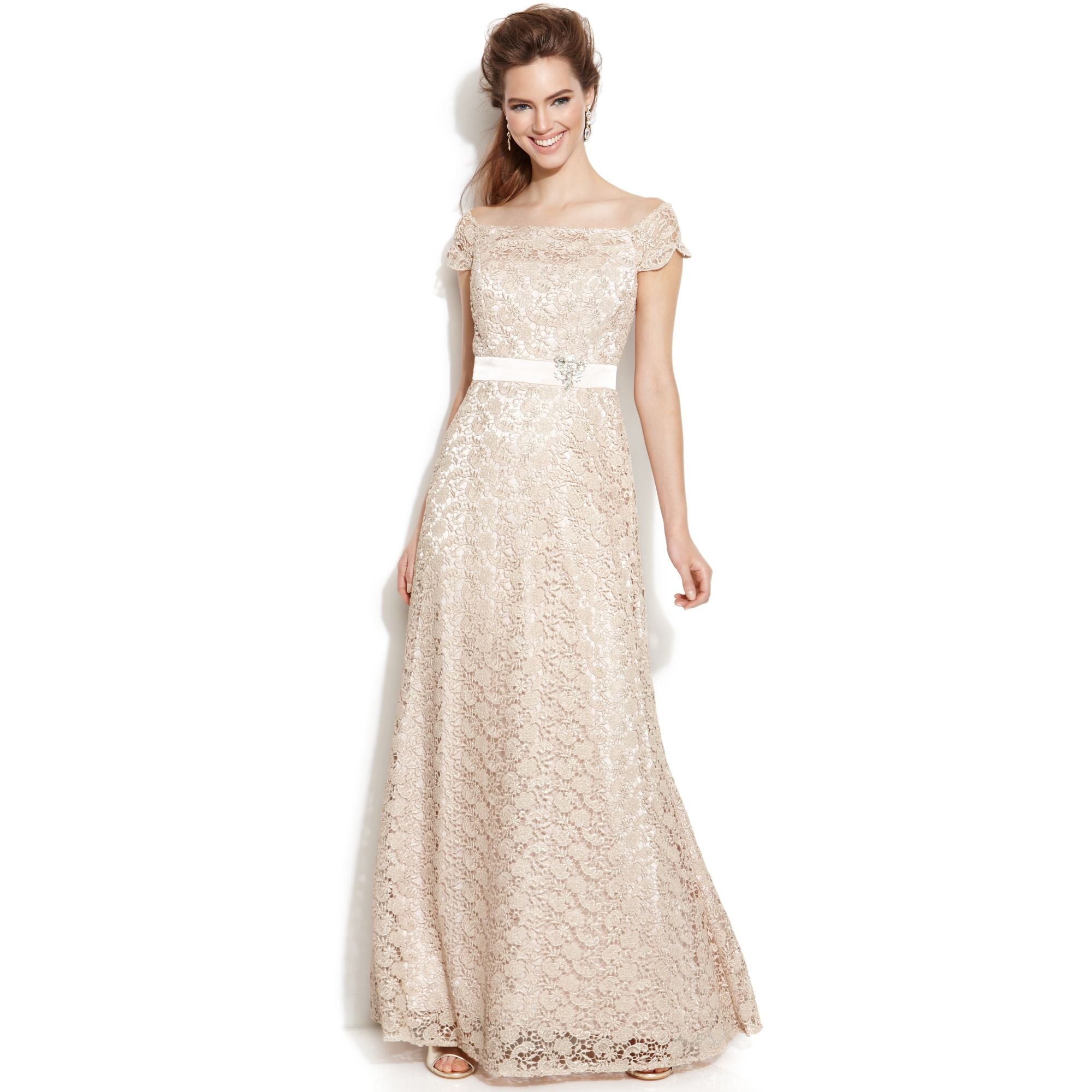 Lyst - Js Collections Capsleeve Glitter Lace Gown in Metallic