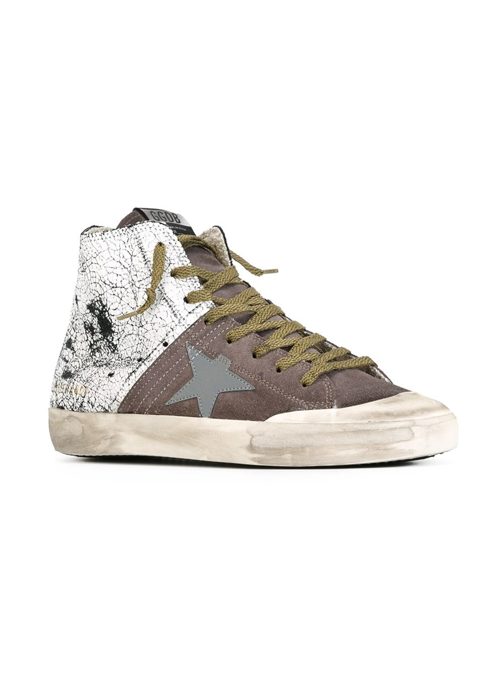 golden goose deluxe brand 39 francy 39 hi top sneakers in gray grey lyst. Black Bedroom Furniture Sets. Home Design Ideas