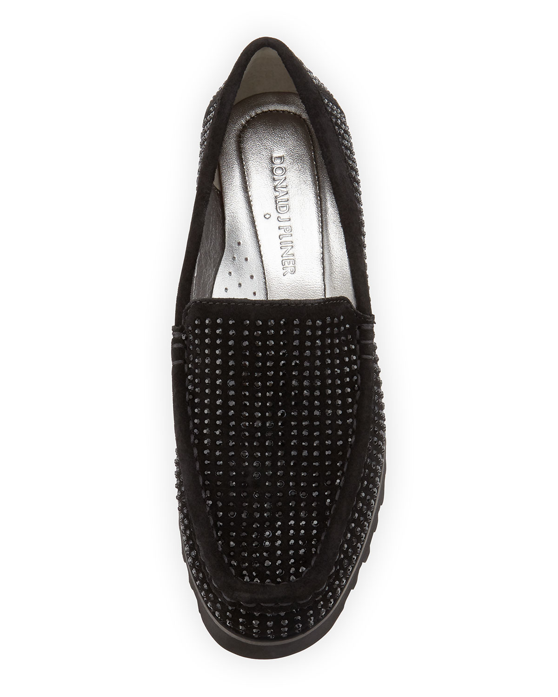 Lyst Donald J Pliner Sparkle Studded Suede Loafer In Black