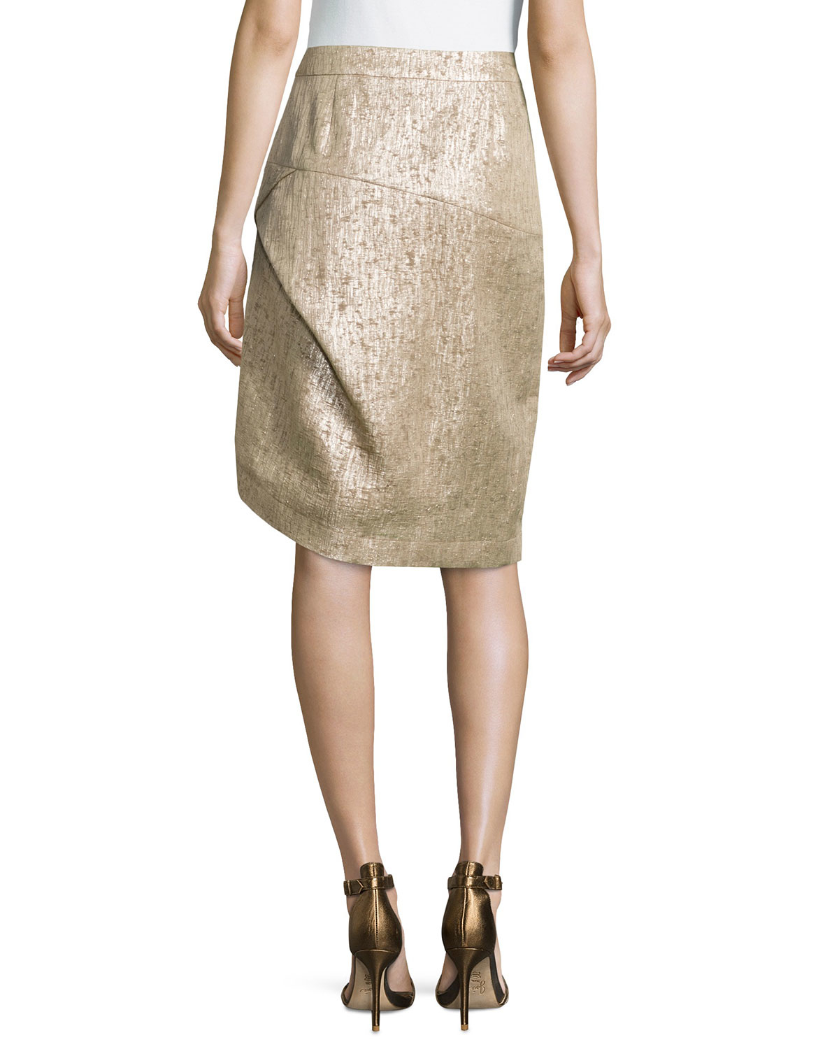 escada high waist metallic pencil skirt lyst