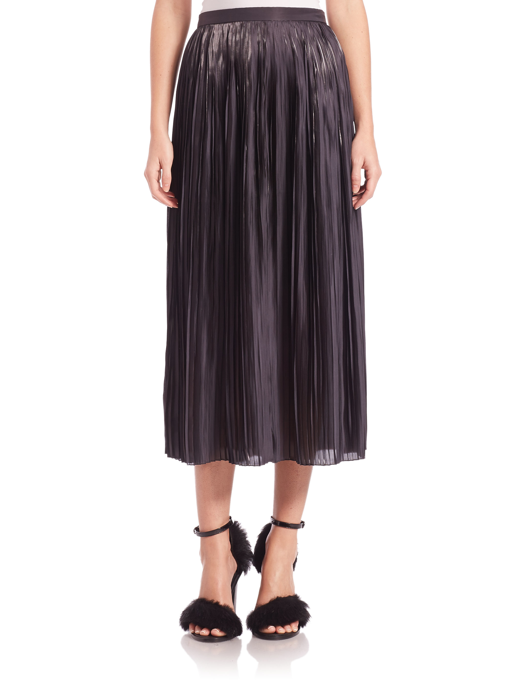 tibi flume pleated midi skirt in black lyst