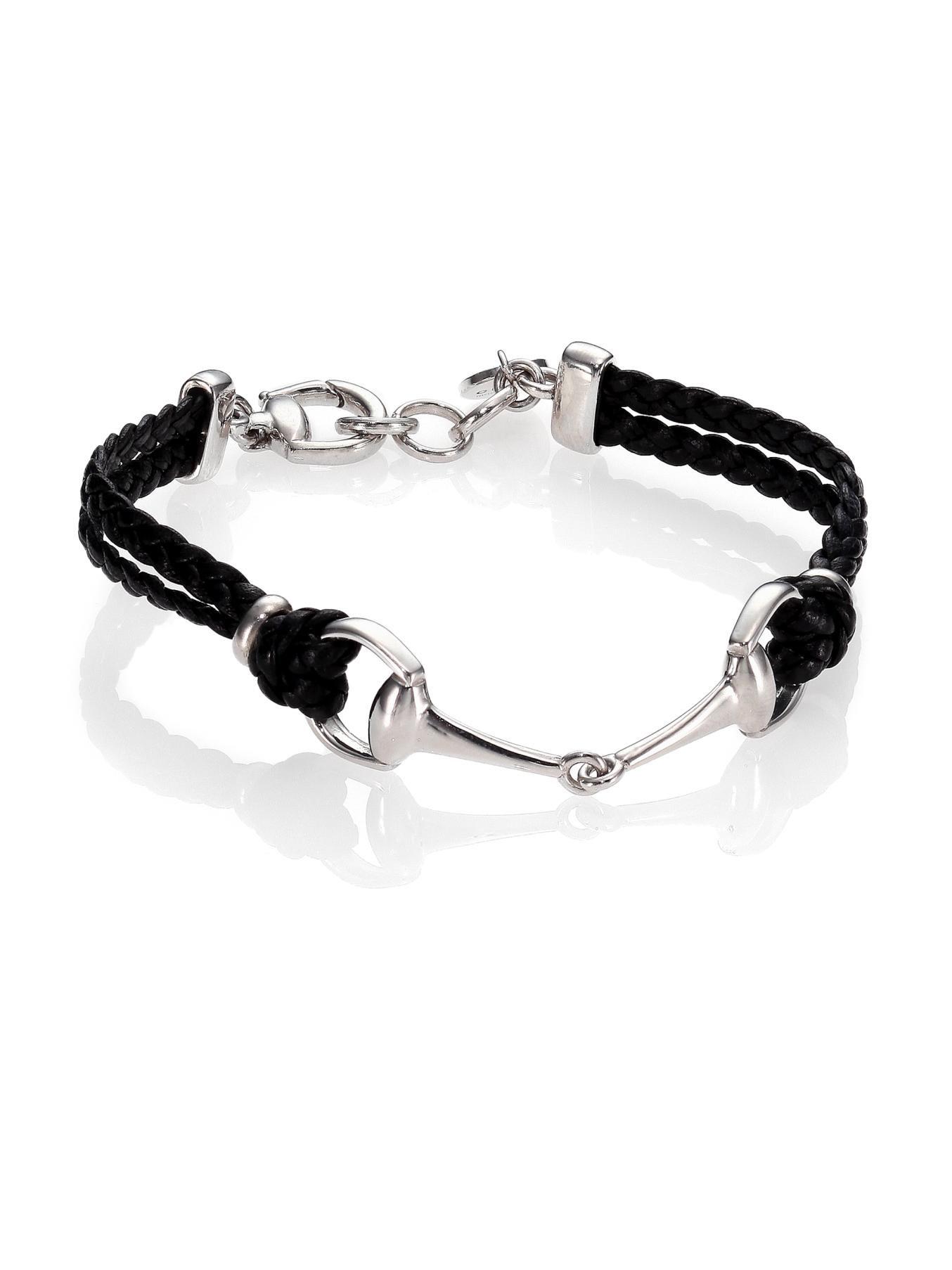 Gucci Horsebit Bracelet In Black For Men Lyst