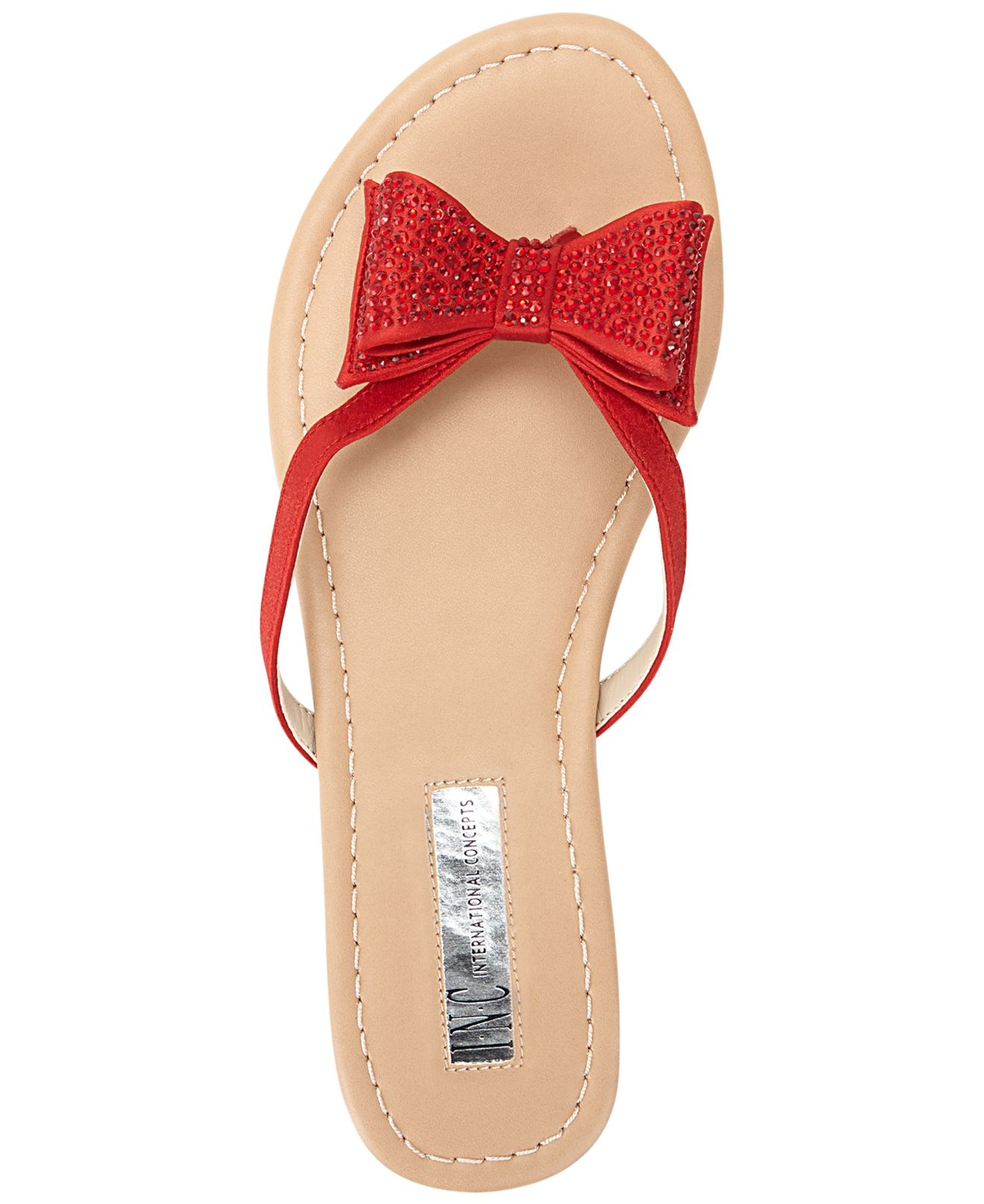 6af8a0ce95dc8 Lyst - INC International Concepts Women S Maey Bow Thong Sandals in Red
