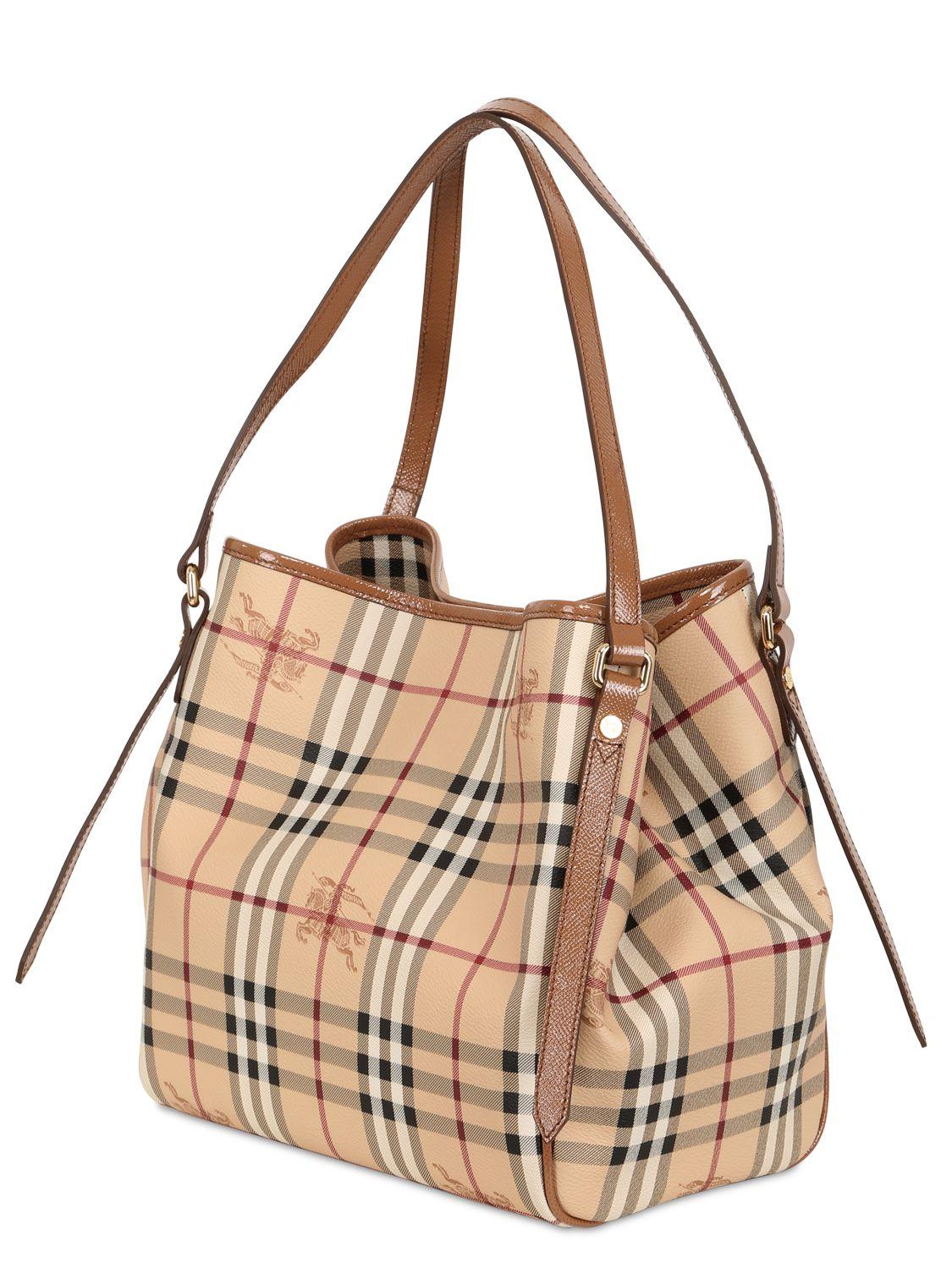 3f144f9c96e1 Lyst - Burberry Small Canterbury Haymarket Bag in Brown