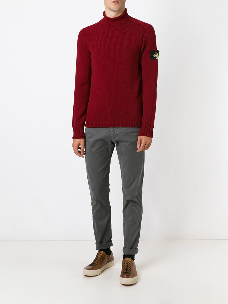 Stone island Turtle Neck Sweater in Red for Men