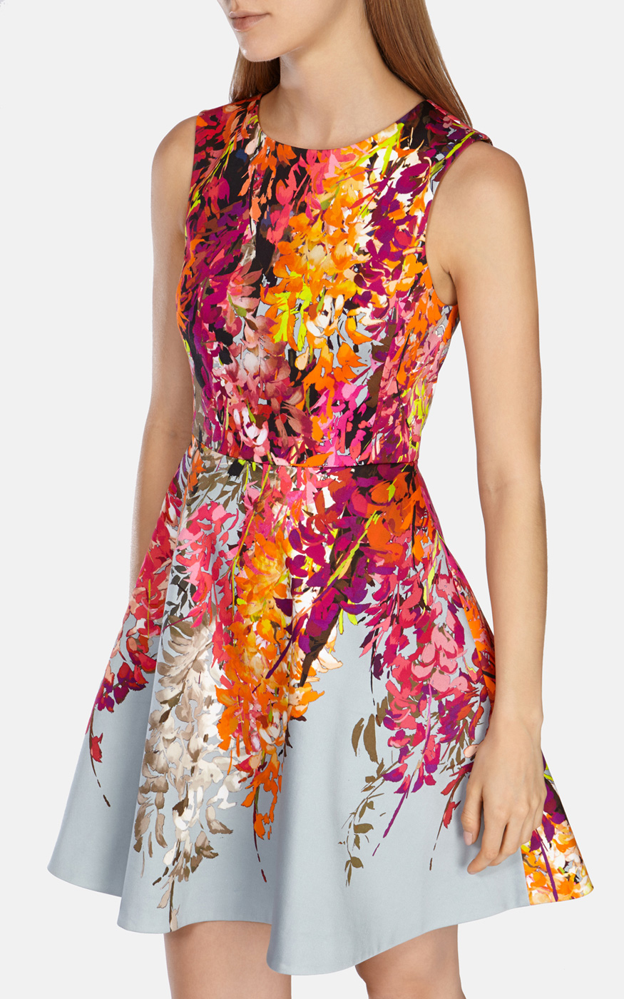 Karen Millen Oriental Floral Print Fit And Flare Dress In