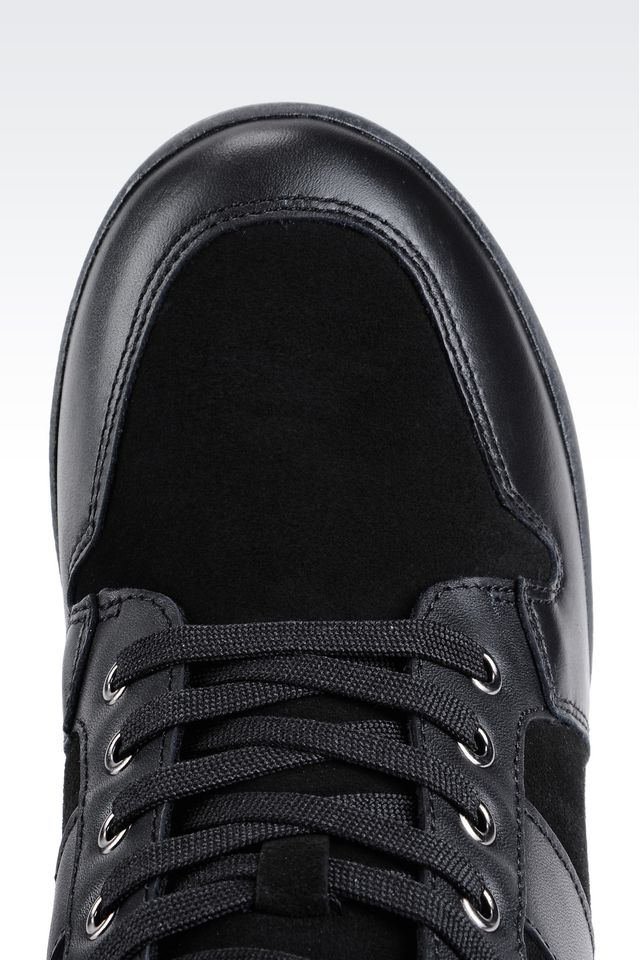 armani jeans high top sneaker in leather with wedge in black lyst. Black Bedroom Furniture Sets. Home Design Ideas