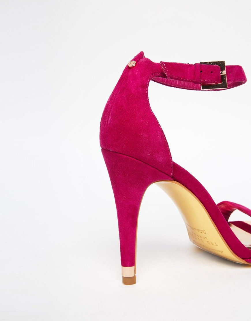 ted baker juliennas pink suede barely there heeled sandals