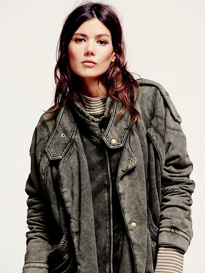 Free people Womens Oversized Fleece Moto Jacket in Brown | Lyst