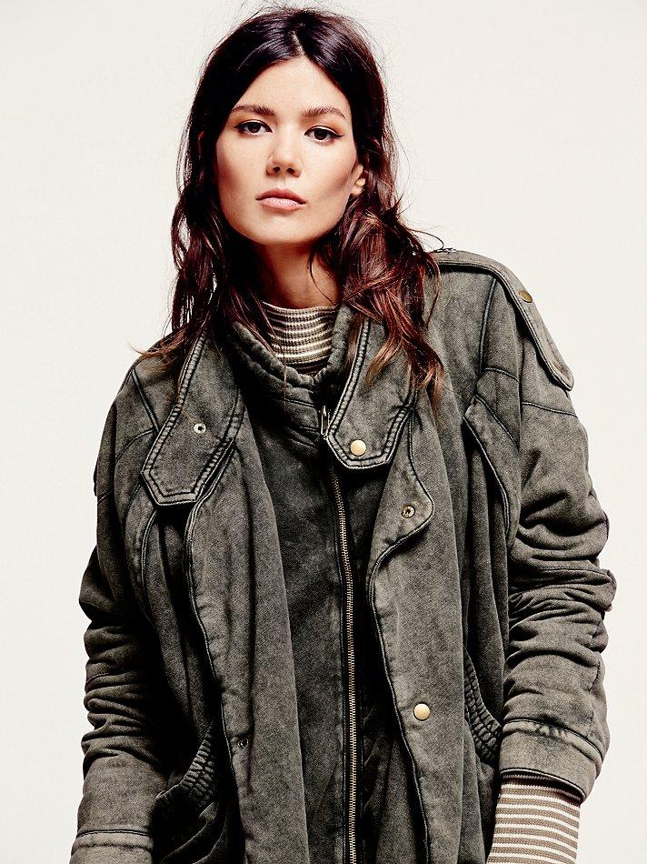 Free people Womens Oversized Fleece Moto Jacket in Brown   Lyst
