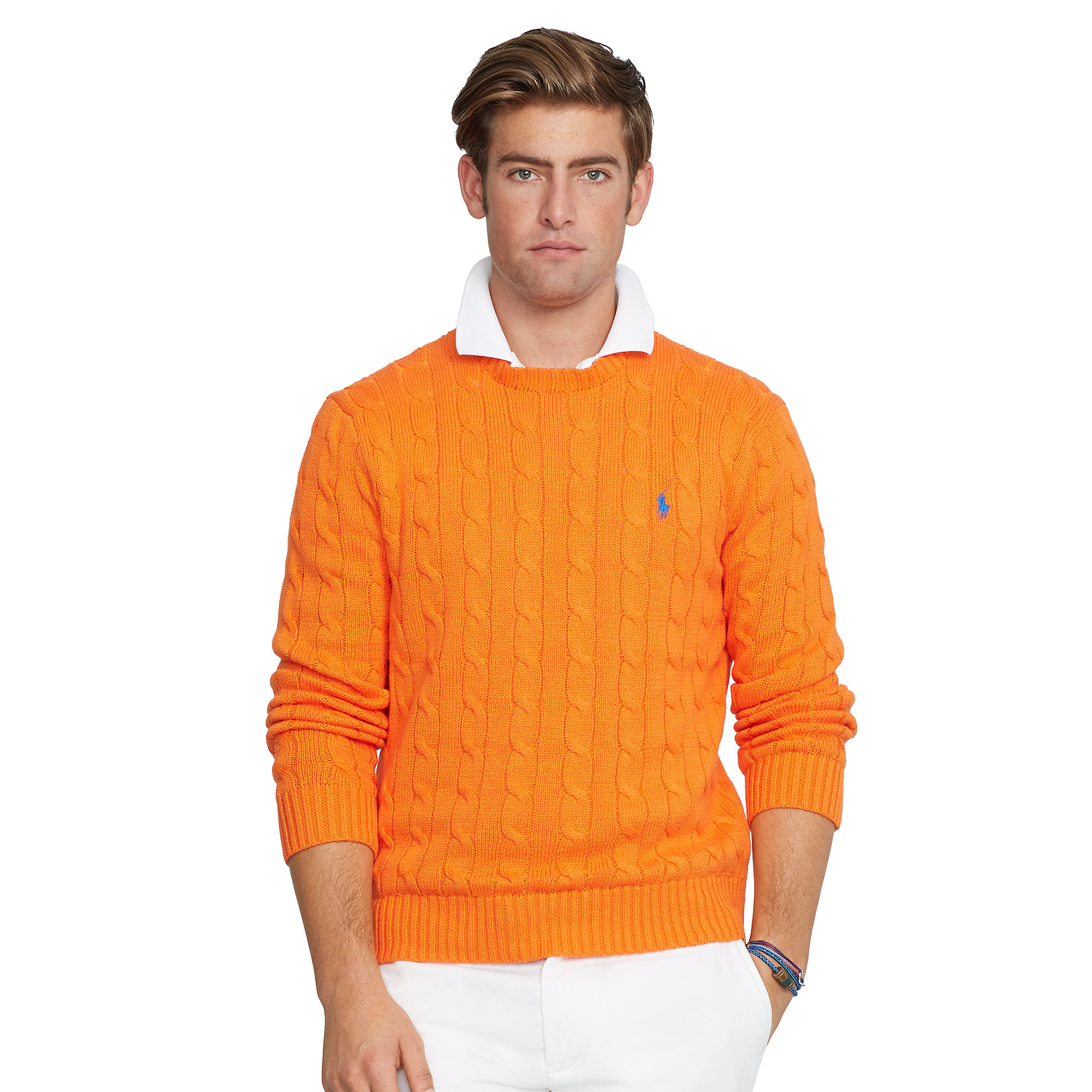 Polo ralph lauren Cable-Knit Cotton Sweater in Orange for Men | Lyst