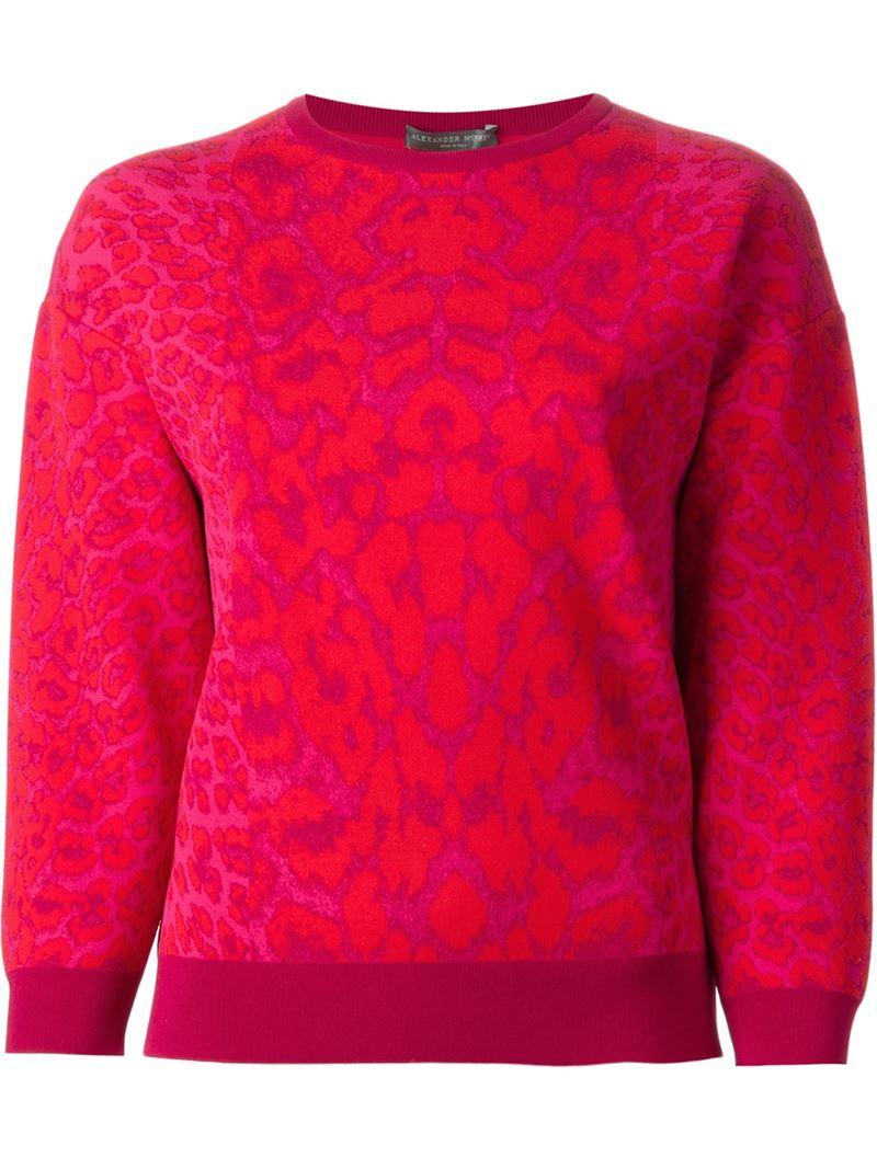 Alexander mcqueen Leopard-Patterned Instarsia-Knit Sweater in Pink ...