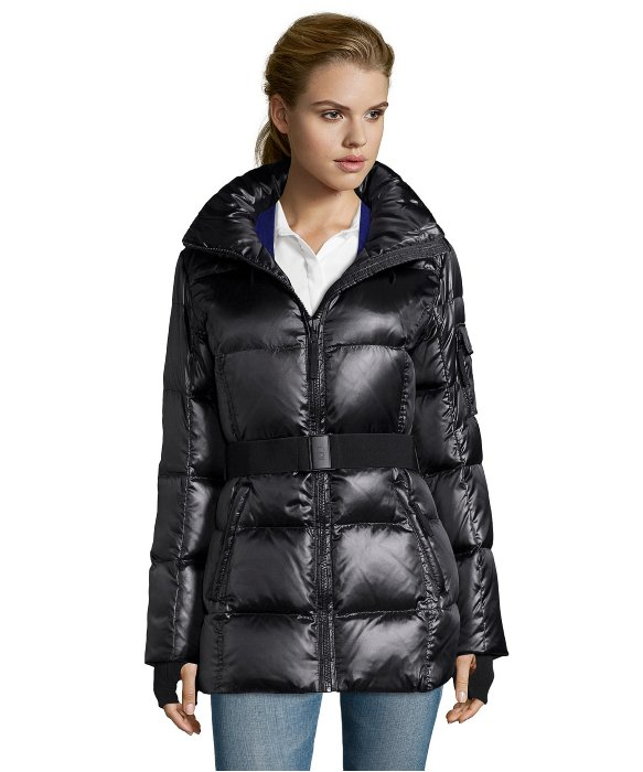 S13 Nyc Jet Black Metallic Quilted Powder Down Puffer