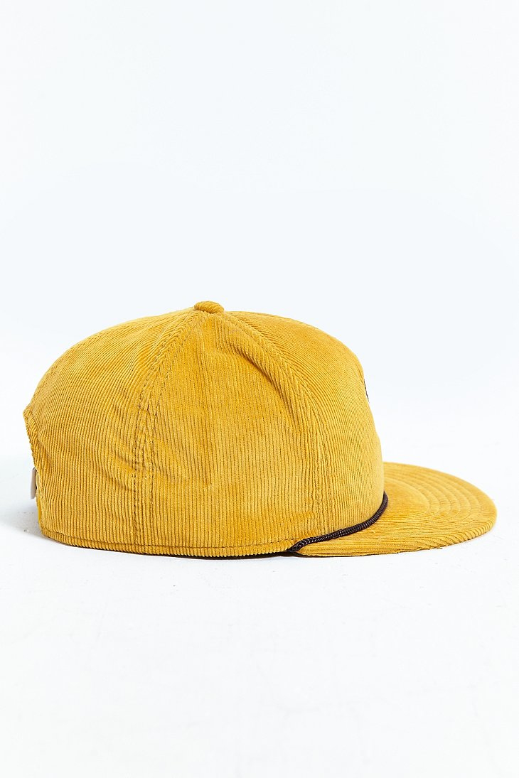 63b3ce14a5885 Lyst - Coal The Wilderness Corduroy Snapback Hat in Yellow for Men