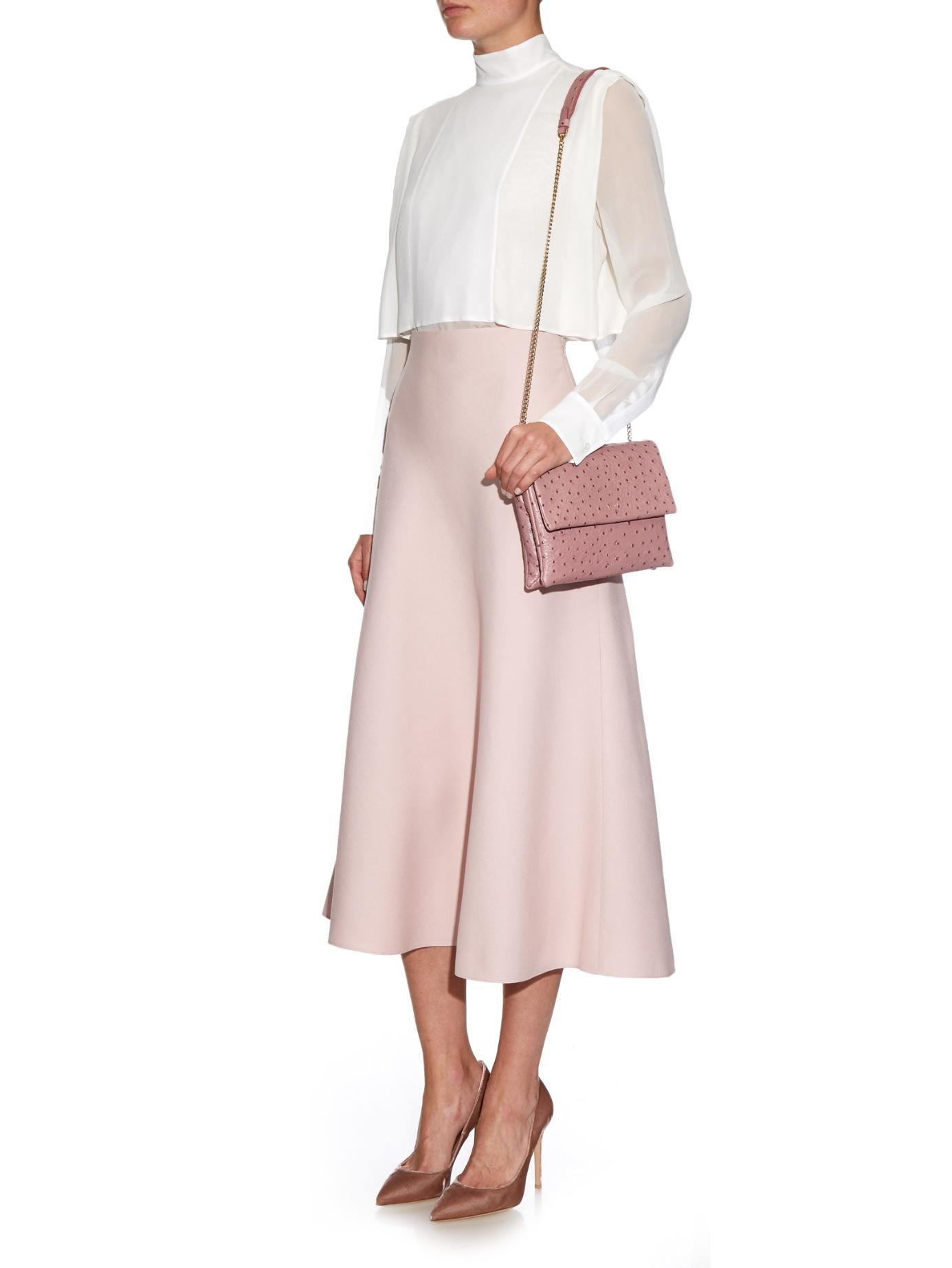 d6cb5315ab53 Lanvin Sugar Mini Ostrich-effect Leather Cross-body Bag in Pink - Lyst