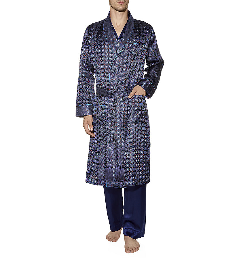 6d4de77c77 ... best cheap d31a5 73977 Derek Rose Verona Silk Dressing Gown in Blue for  Men - Lyst ...