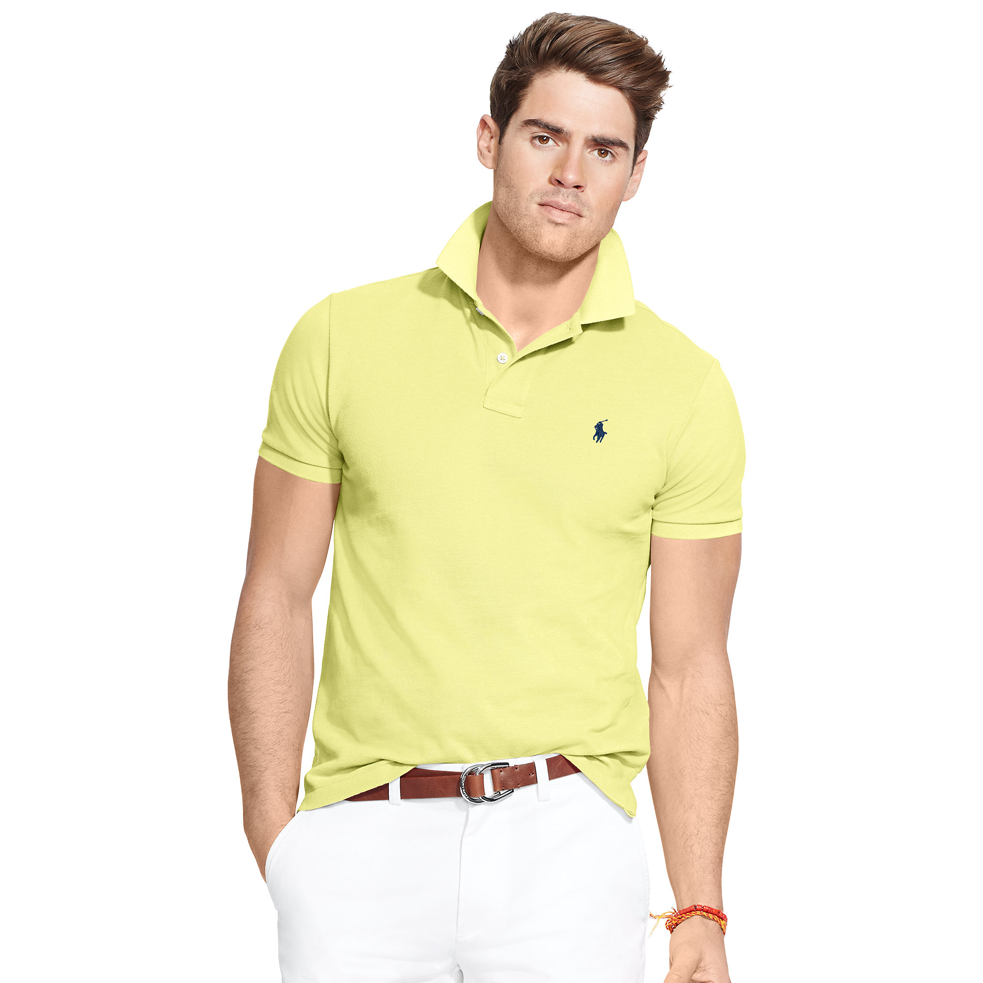 68a04a52 Polo Ralph Lauren Classic Fit Mesh Polo Shirt in Yellow for Men - Lyst