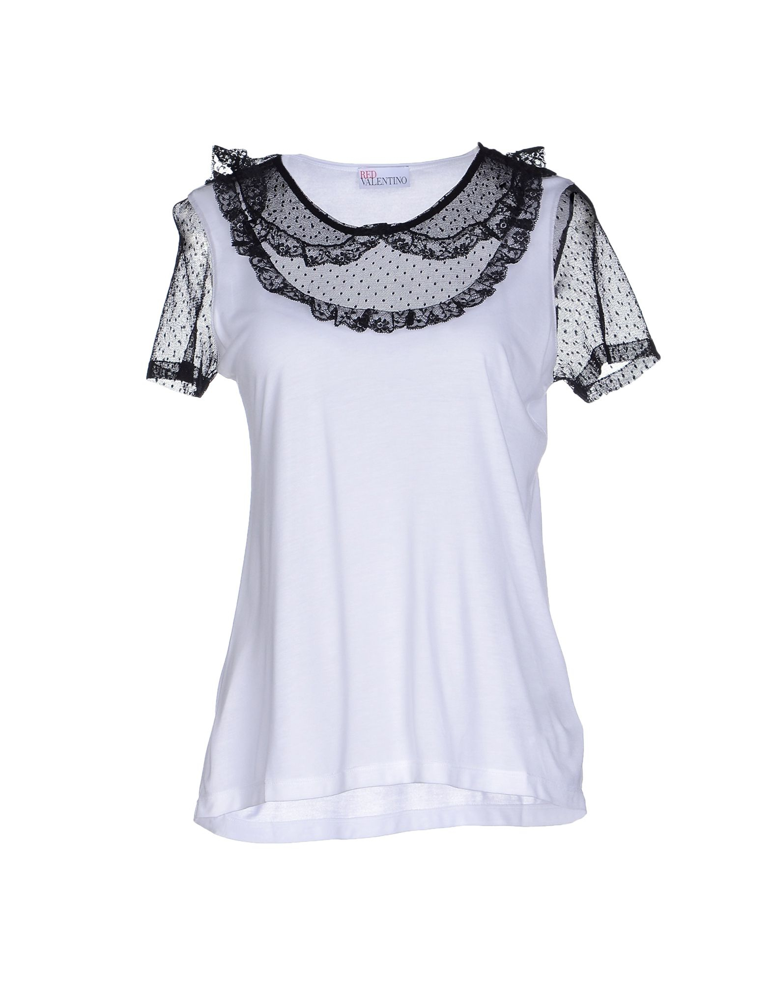 Red valentino t shirt in white lyst for Red valentino t shirt