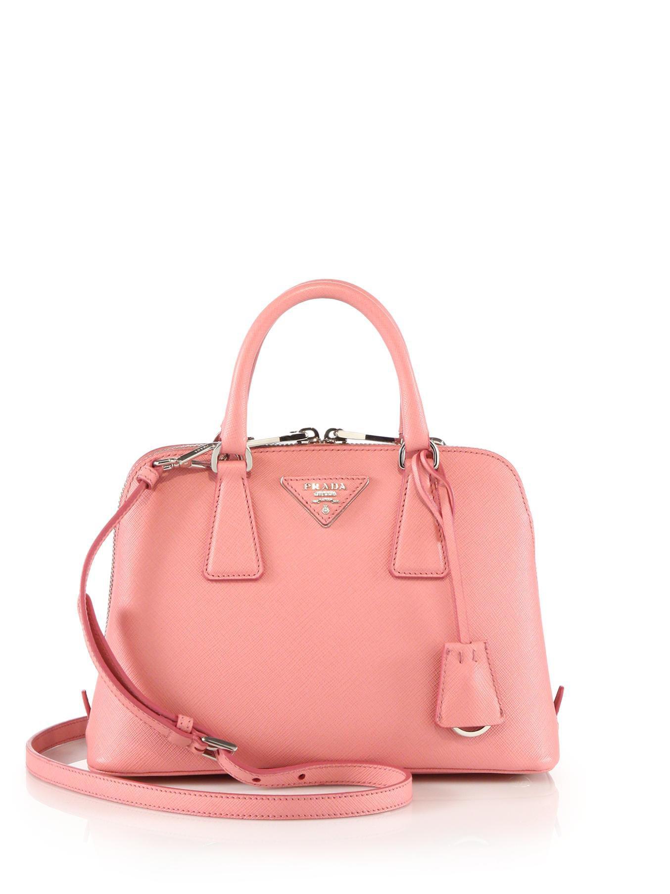Prada Mini Saffiano Leather Shoulder Bag in Pink (petalo) | Lyst