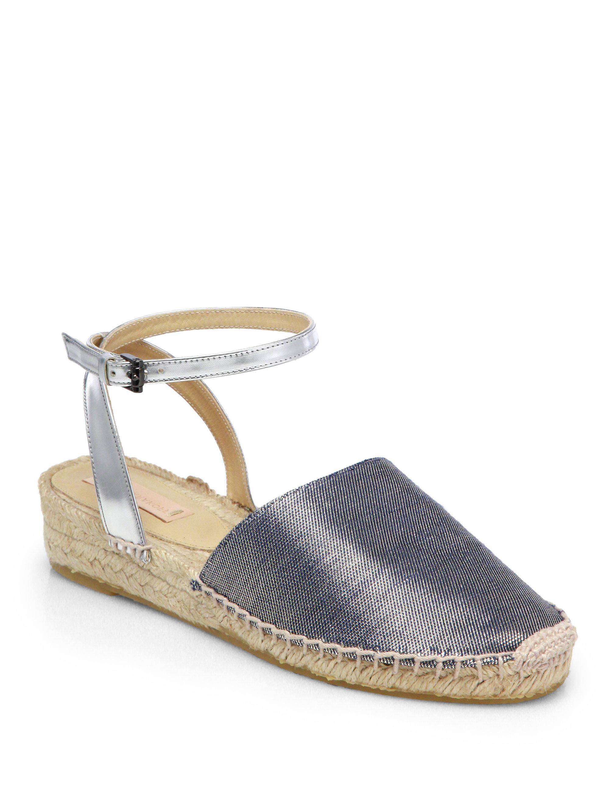 reed krakoff metallic linen espadrille wedge sandals in